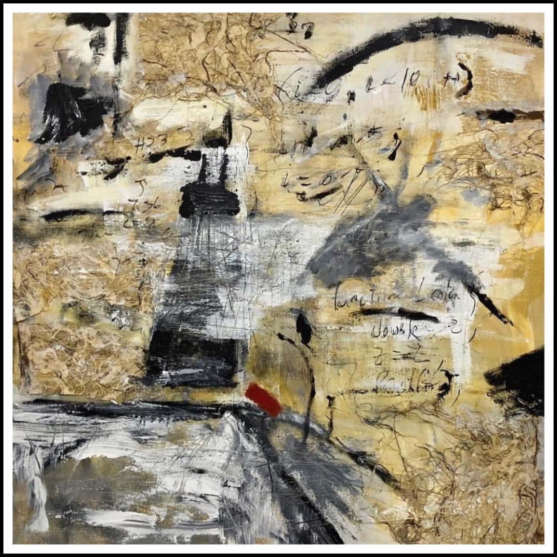 "LOSS FOR WORDS   34""x 36"" acrylic, charcoal, collage on canvas,  SOLD"