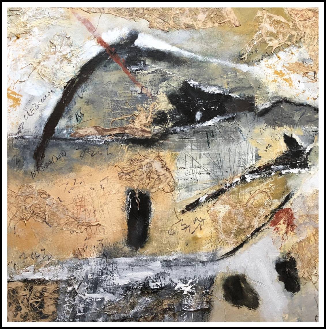 "LITERARY NATURE   30""x 30"" acrylic, collage, charcoal on canvas, framed"