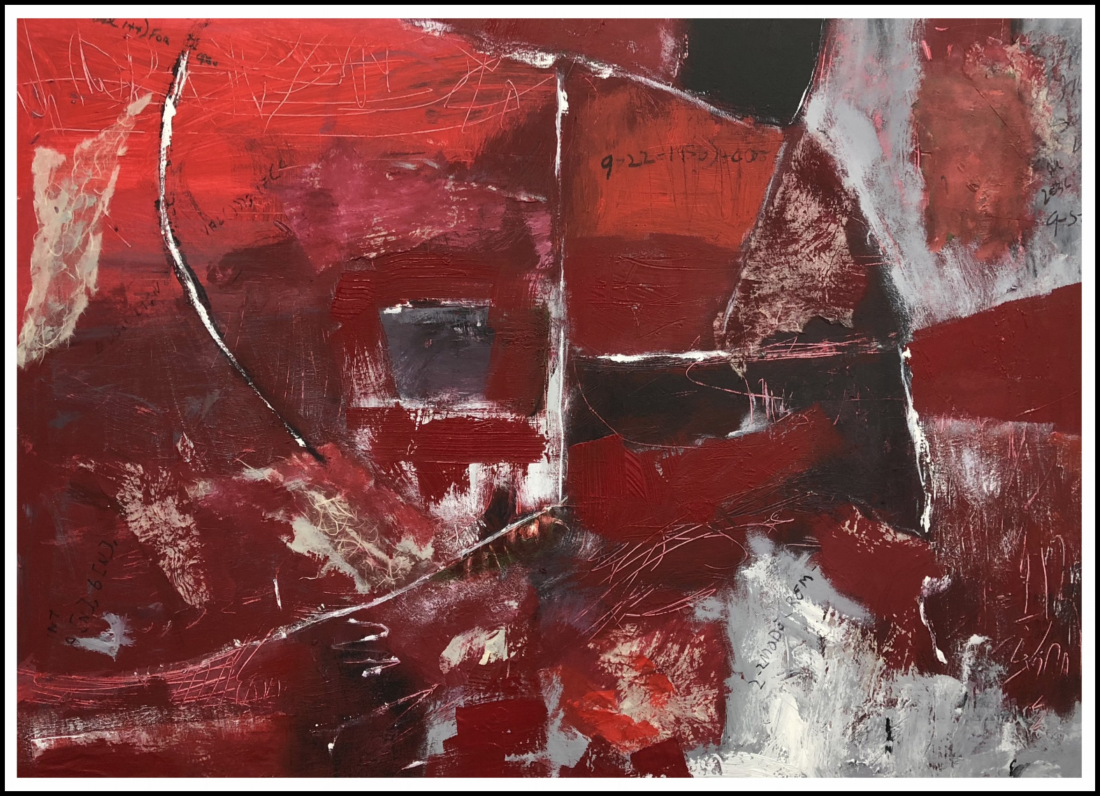 "AVERY RED   40"" x 30"" acrylic, collage"