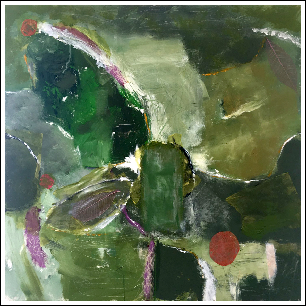 "LINDSAY GREEN   30"" x 30"" acrylic, collage.  SOLD"