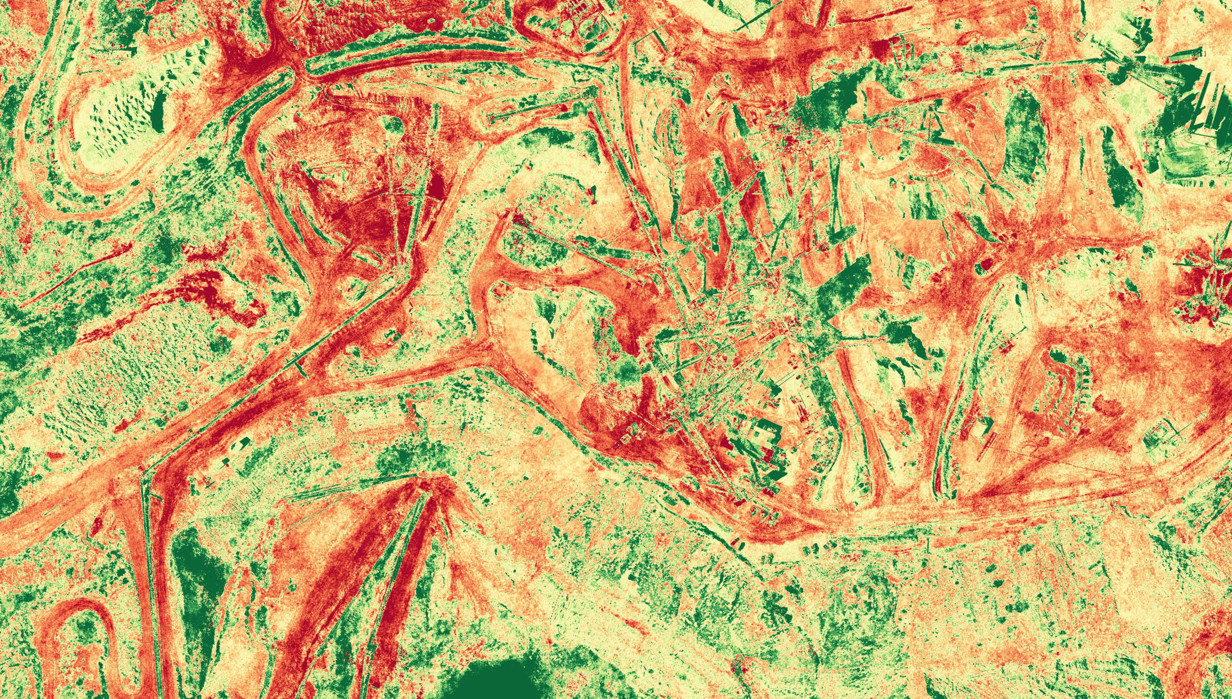 NDVI (normalized difference vegetation index) is calculated from the visible and near-infrared light reflected by vegetation. Healthy vegetation absorbs most of the visible light that hits it, and reflects a large portion of the near-infrared light. Unhealthy or sparse vegetation reflects more visible light and less near-infrared light
