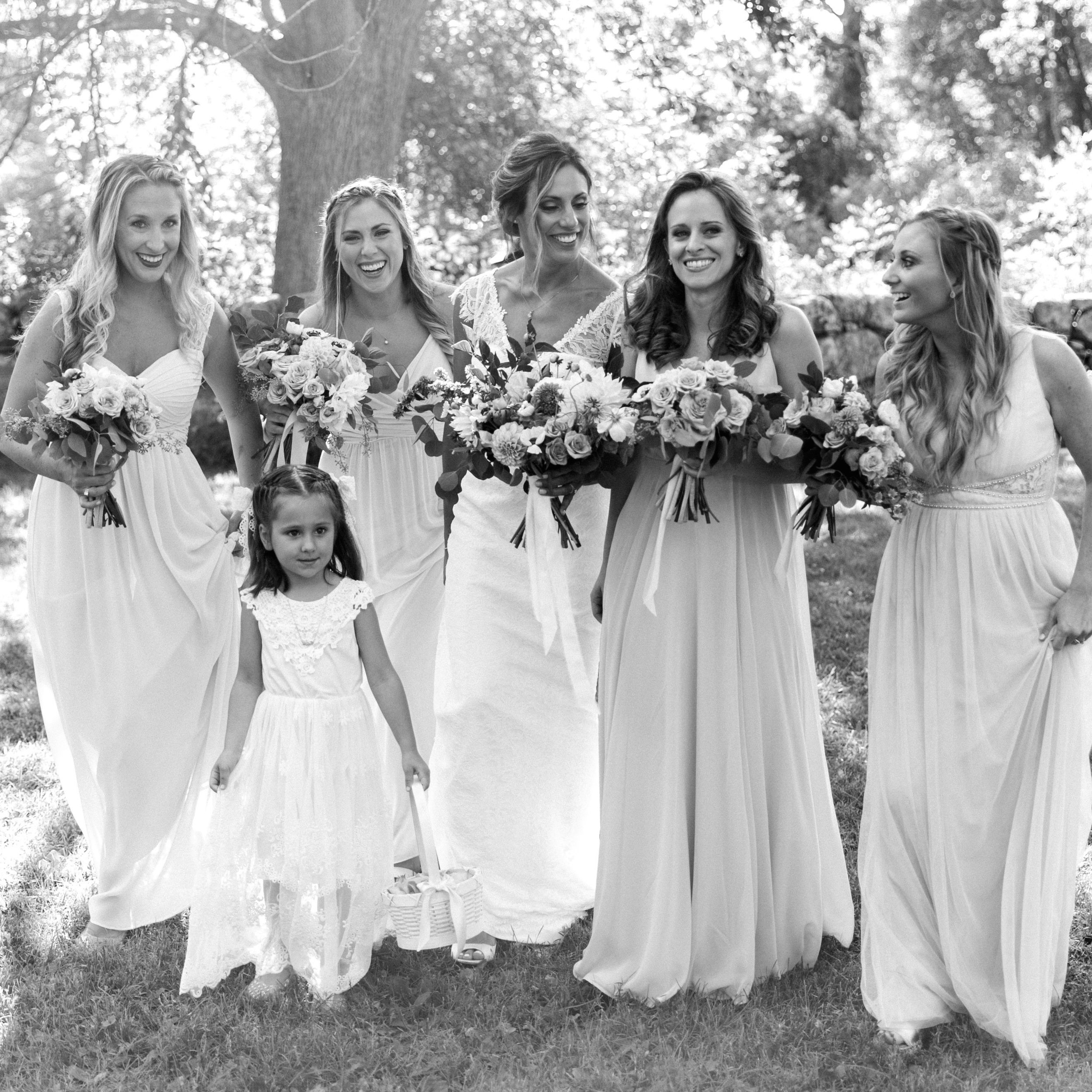 Flower Girl's Hairstyling & Makeup - We give the younger girls a special beauty treatment of their own. Sweet and secure hairstyling and simple makeup of a little shimmer, blush and gloss helps these little ladies feel beautiful for their own walk down the aisle.