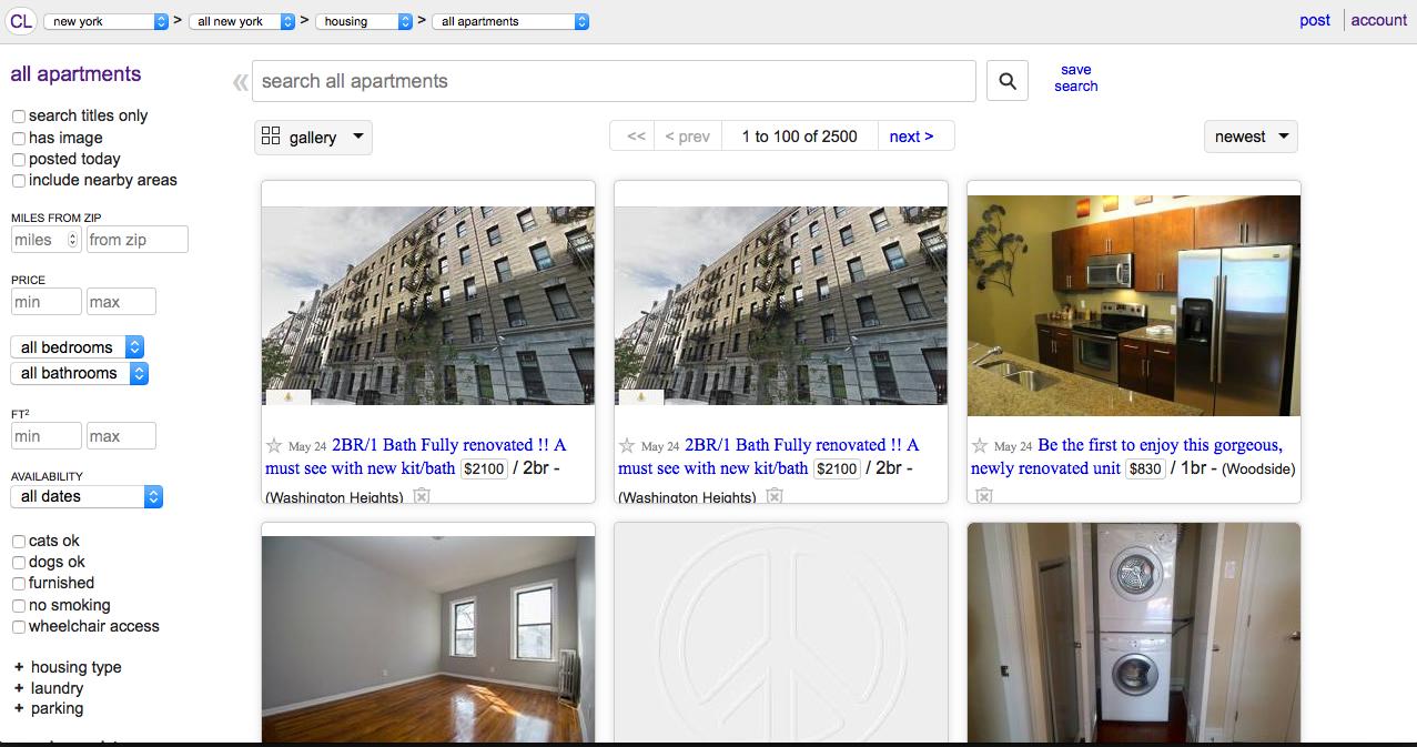 ニューヨーク アパート 賃貸 引越し Craigslist