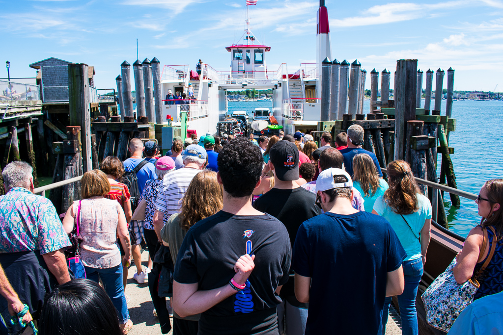 Everyone piled onto the ferry headed for Peak's Island