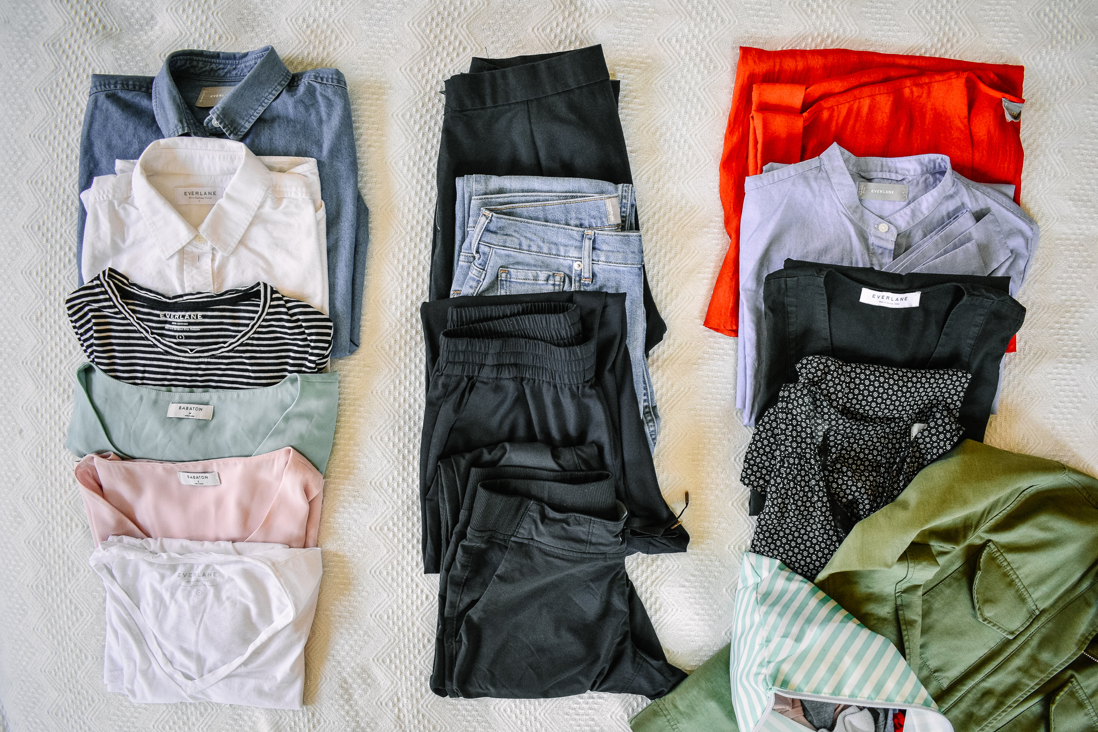 Clothing living from a duffle bag