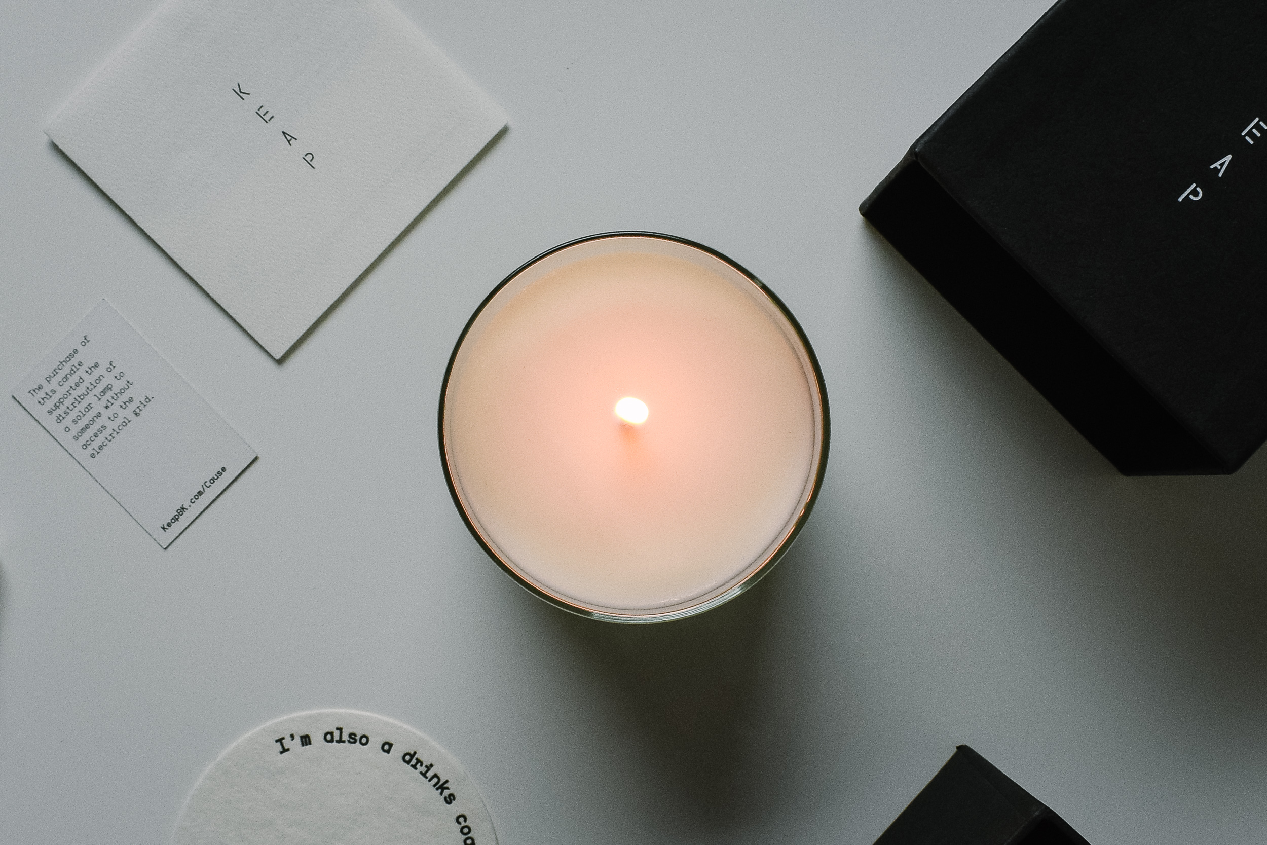 Keap Candle - Made with the most sustainable and slow burning wax for candles, poured in Brooklyn, NY, with all supplies sourced in the USA. Plus, Keap donates 25% of net profits to SolarAid to help bring solar light to communities in need.