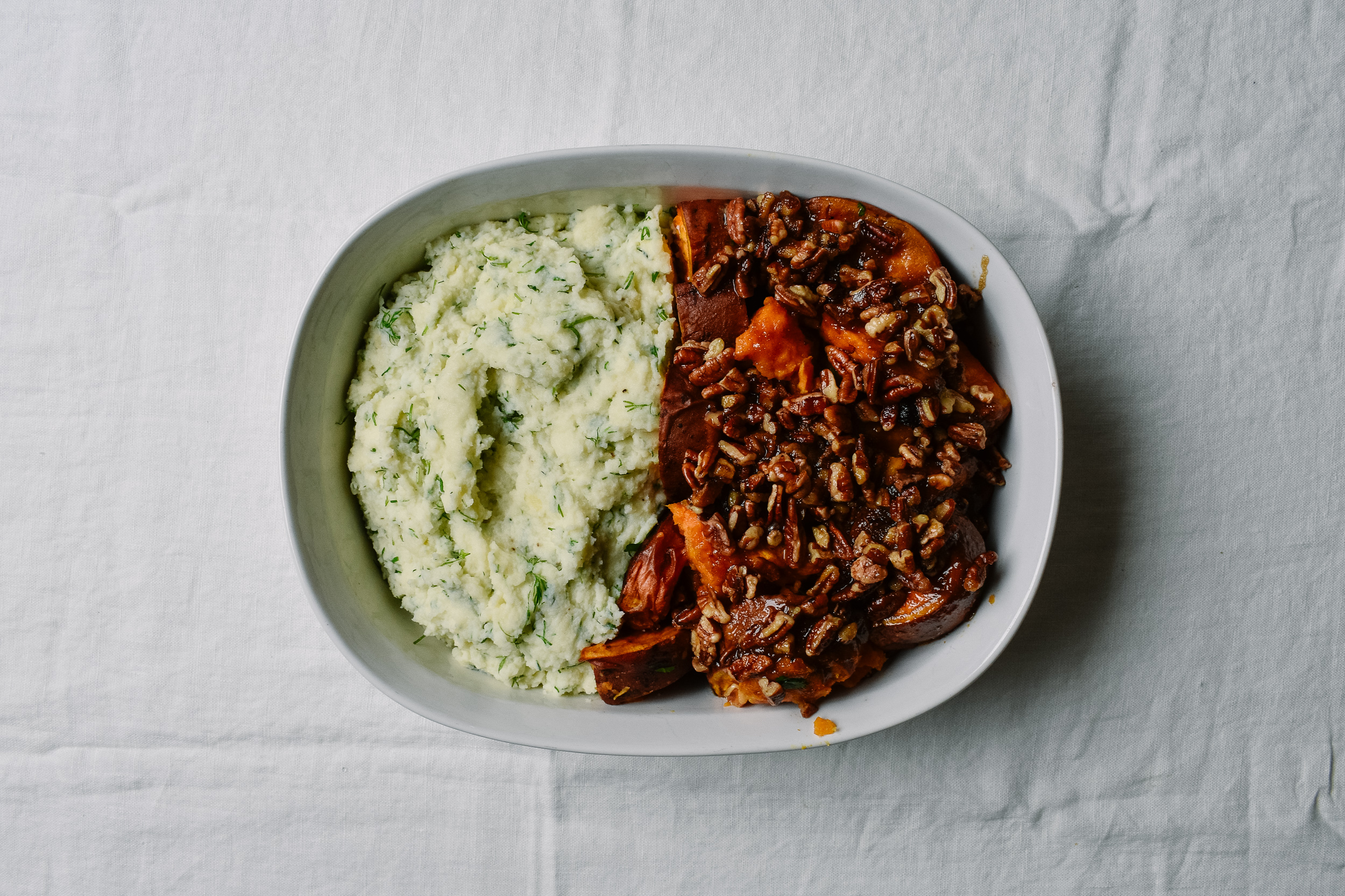 Mashed potatoes and sweet potatoes