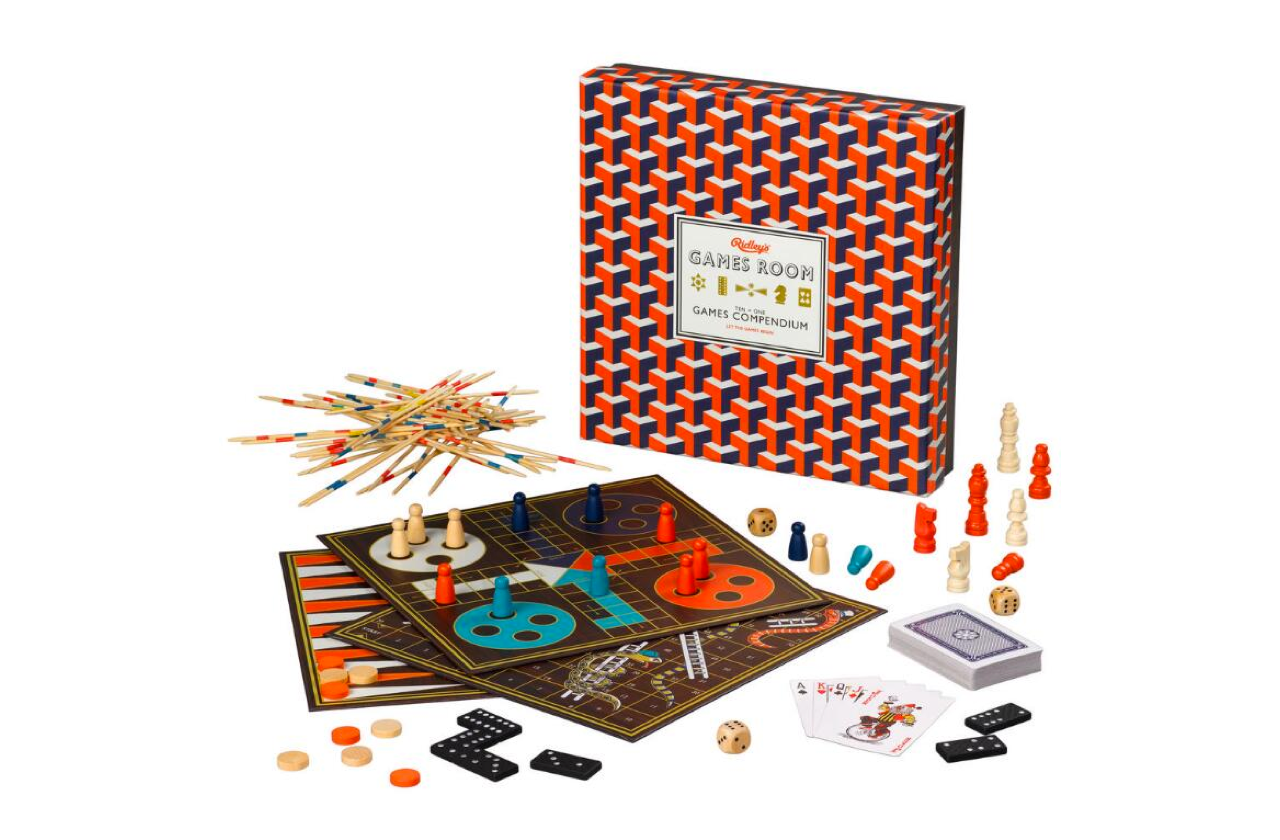 Ridley's Games Ten in One Games Compendium Board - This game set is beautifully designed and compact. It includes: backgammon, chess, chinese checkers, dominoes, checkers, snakes & ladders, nine men morris, ludo, pick-up sticks, and playing cards.