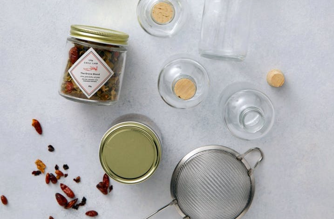 Homemade Hot Sauce Kit - For those who like it hot! The DIY kit includes two secret blends of dried chilis and the tools you'll need to make these deliciously spicy sauces yourself.