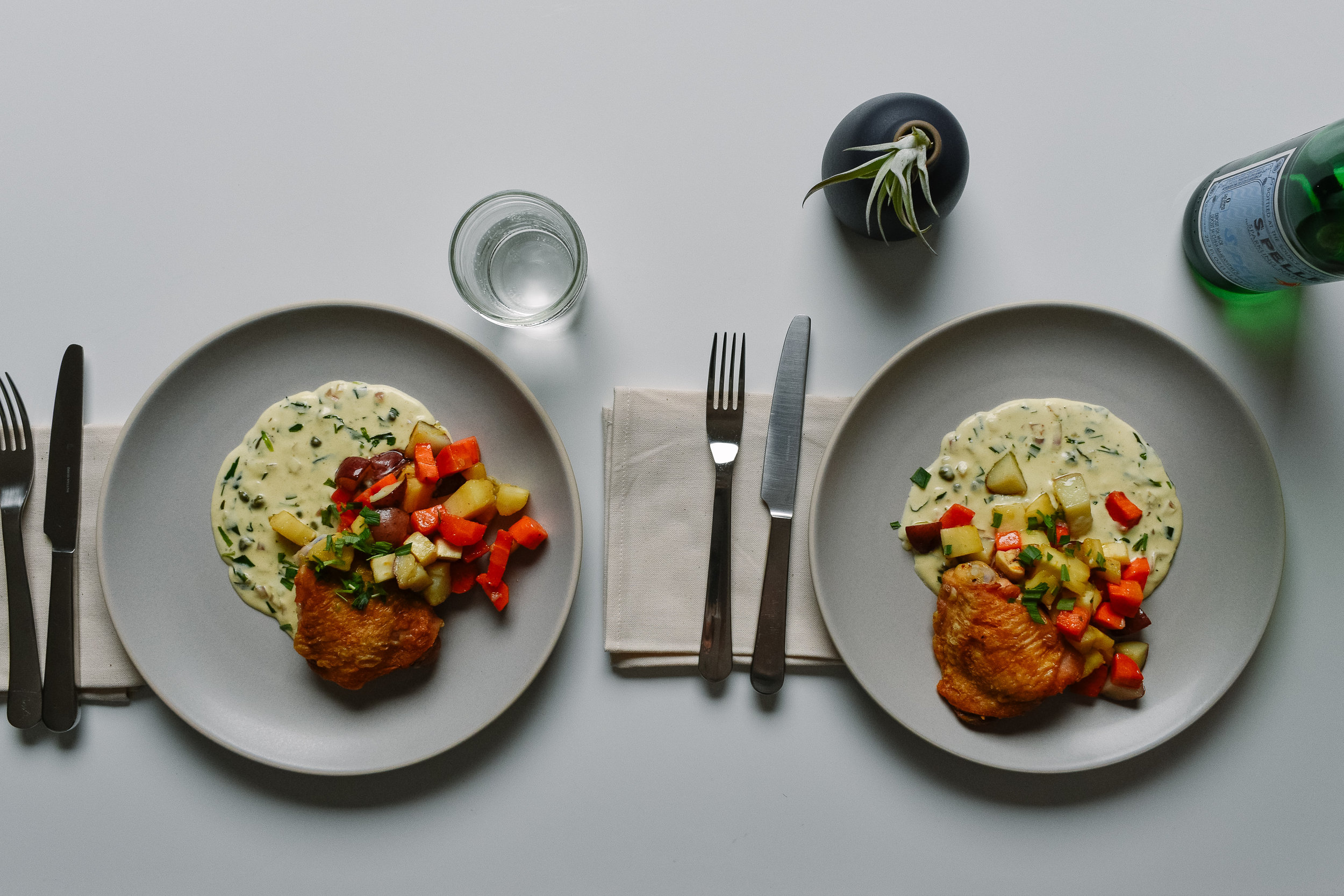 French roasted chicken and vegetables with tarragon cream sauce