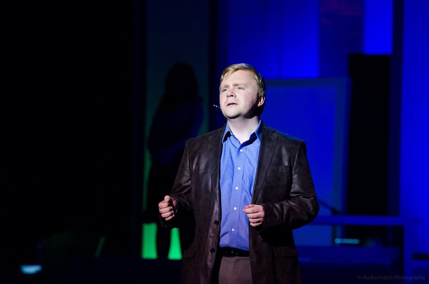 Caleb Lacy as Bobby (Robert) in Company. Image credit:  Audra Hatch .