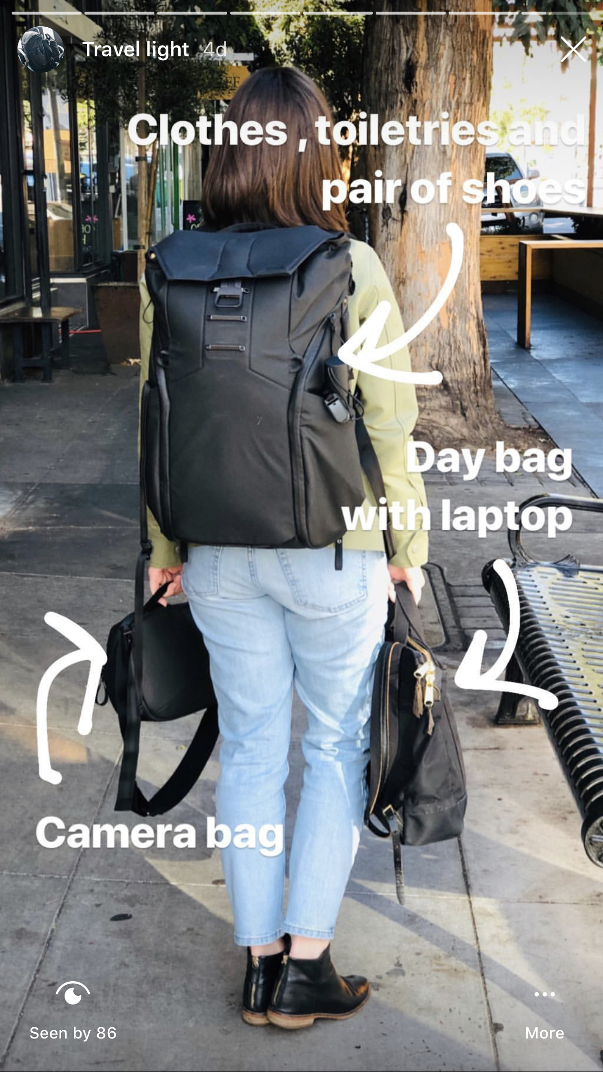 What I packed - traveling light