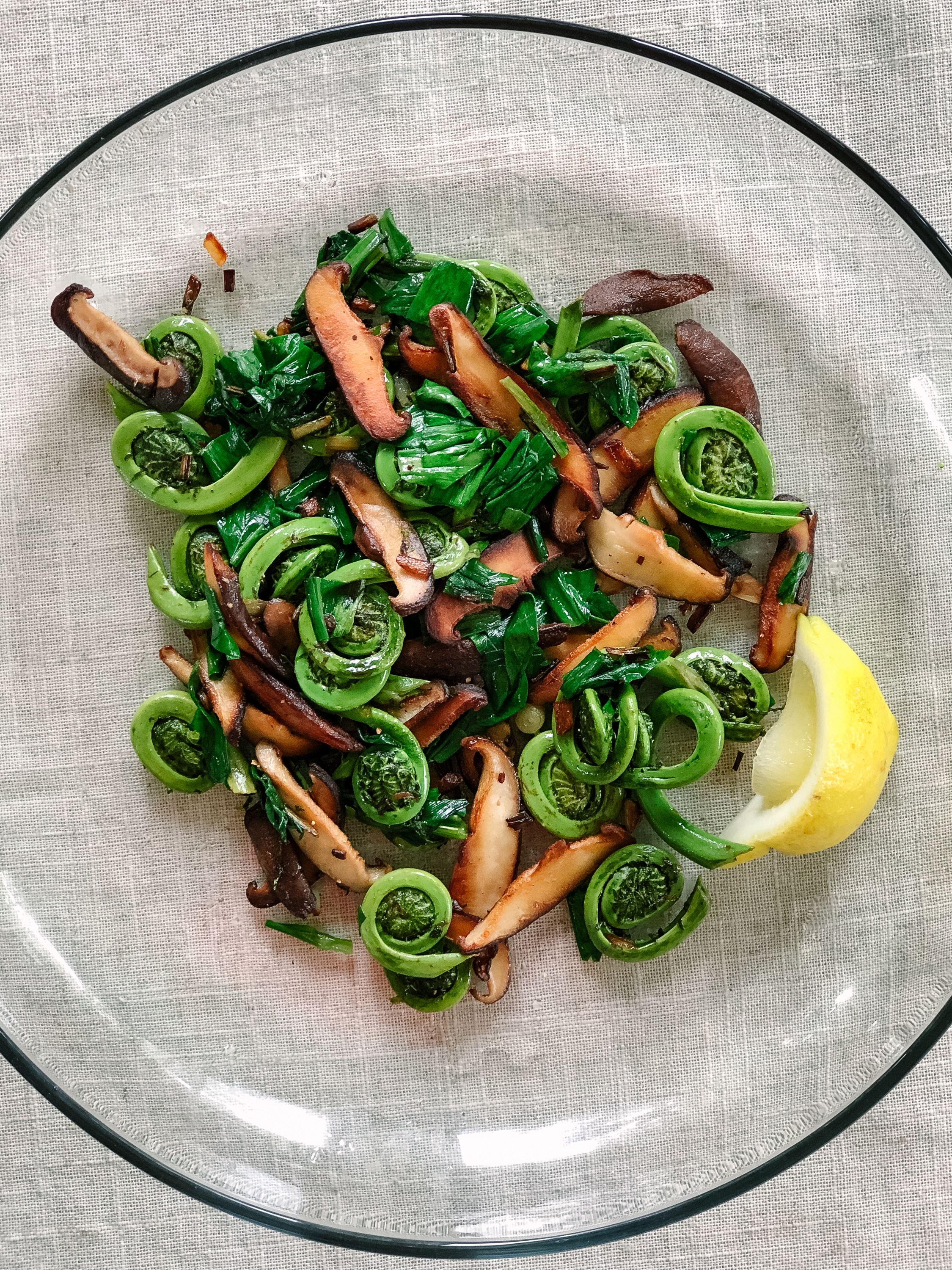 Foraged fiddleheads and ramps with shiitake mushrooms