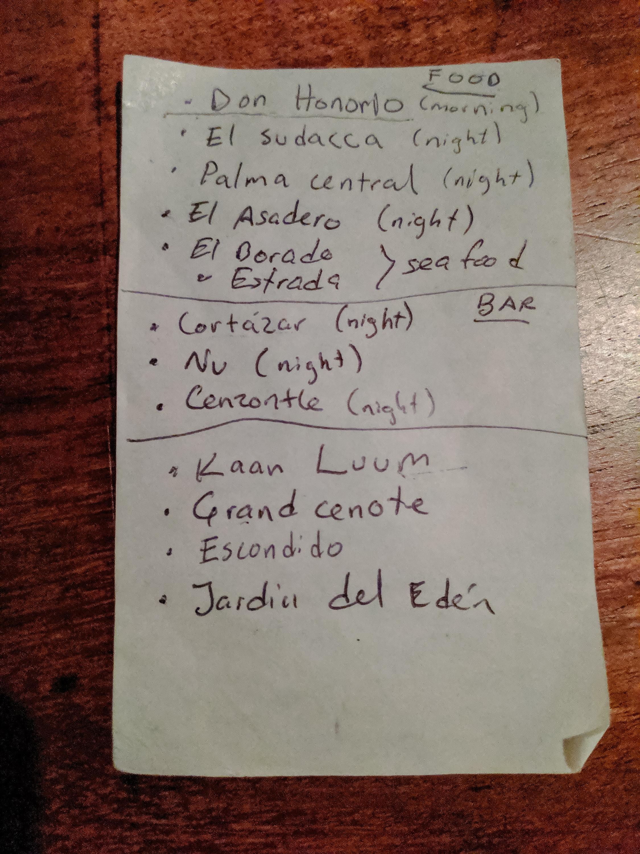 A local's list