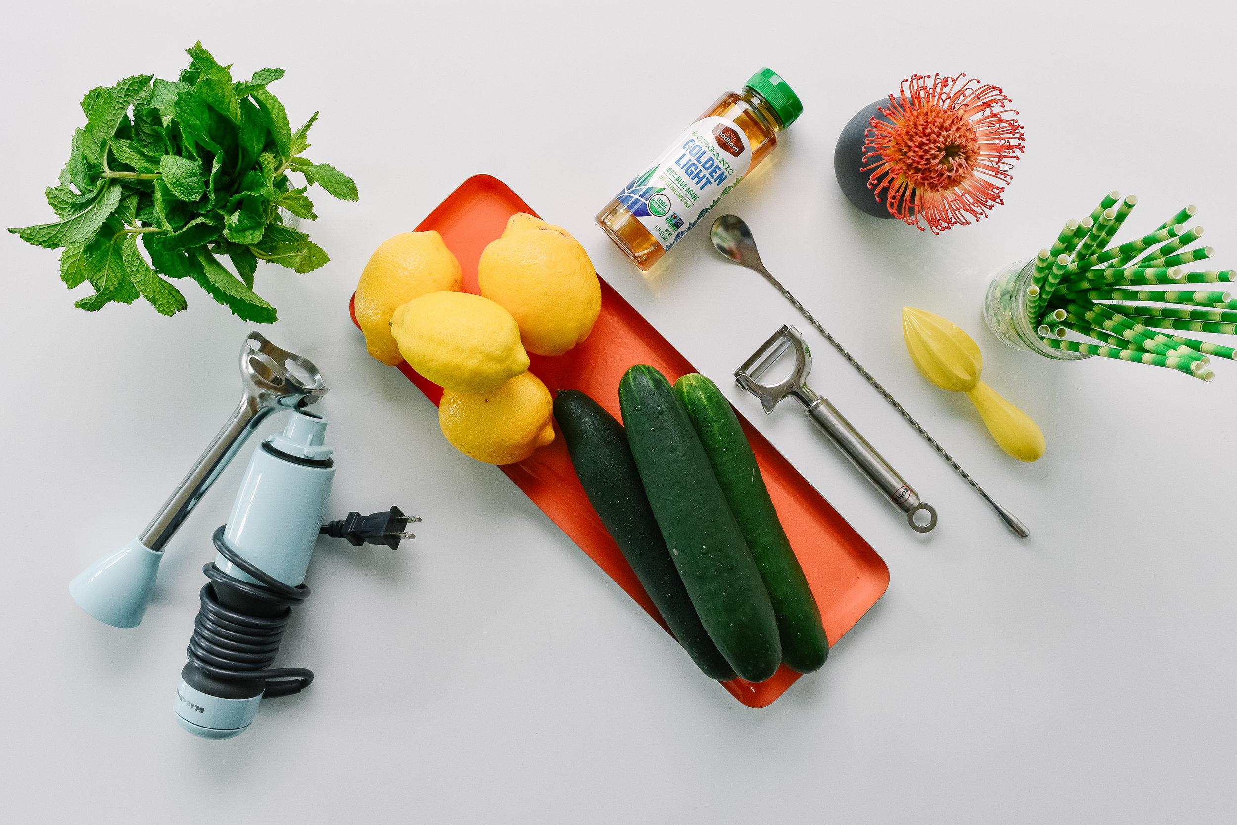 Zero-proof cucumber mint spritzer mocktail ingredients
