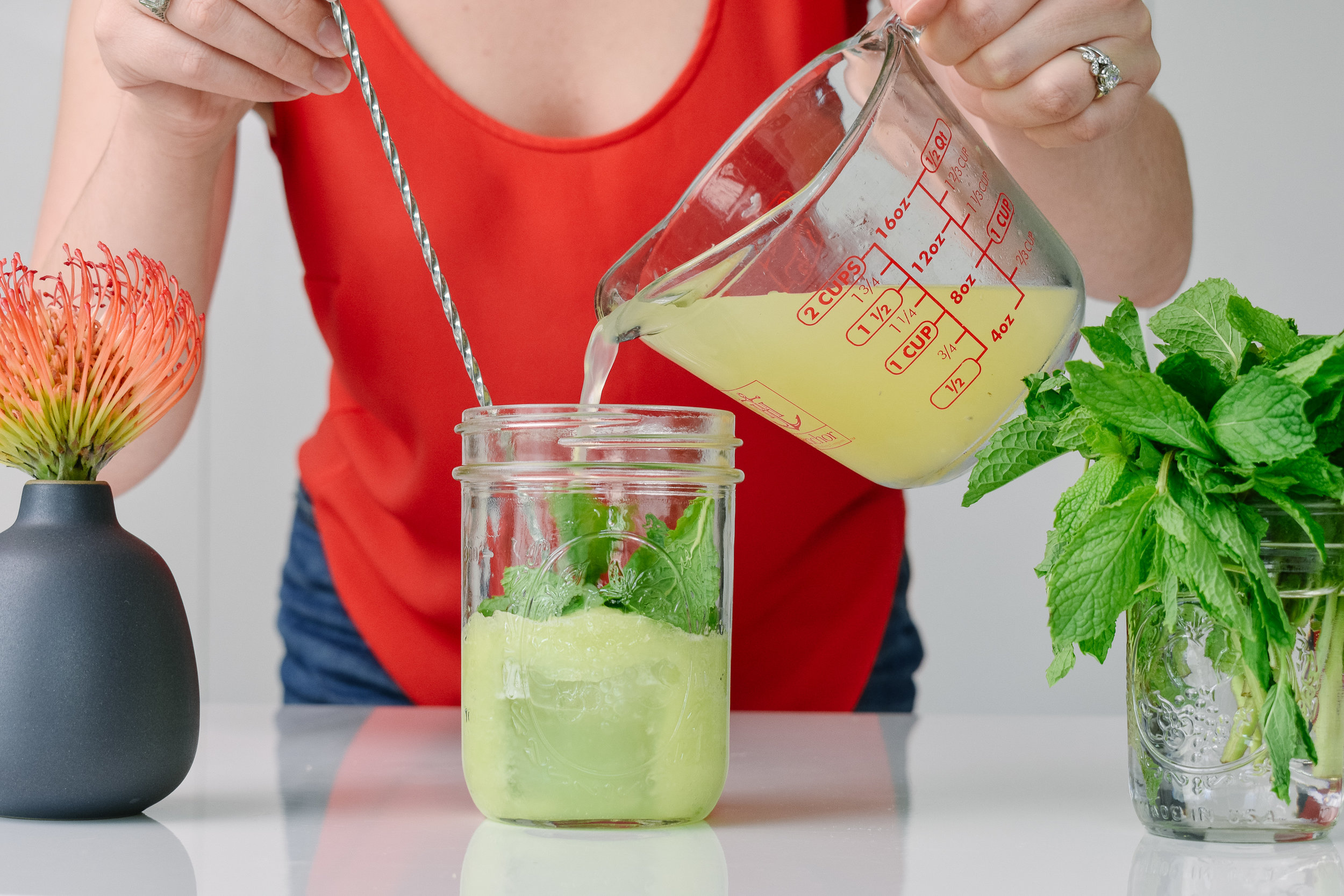 Zero-proof cucumber mint spritzer mocktail