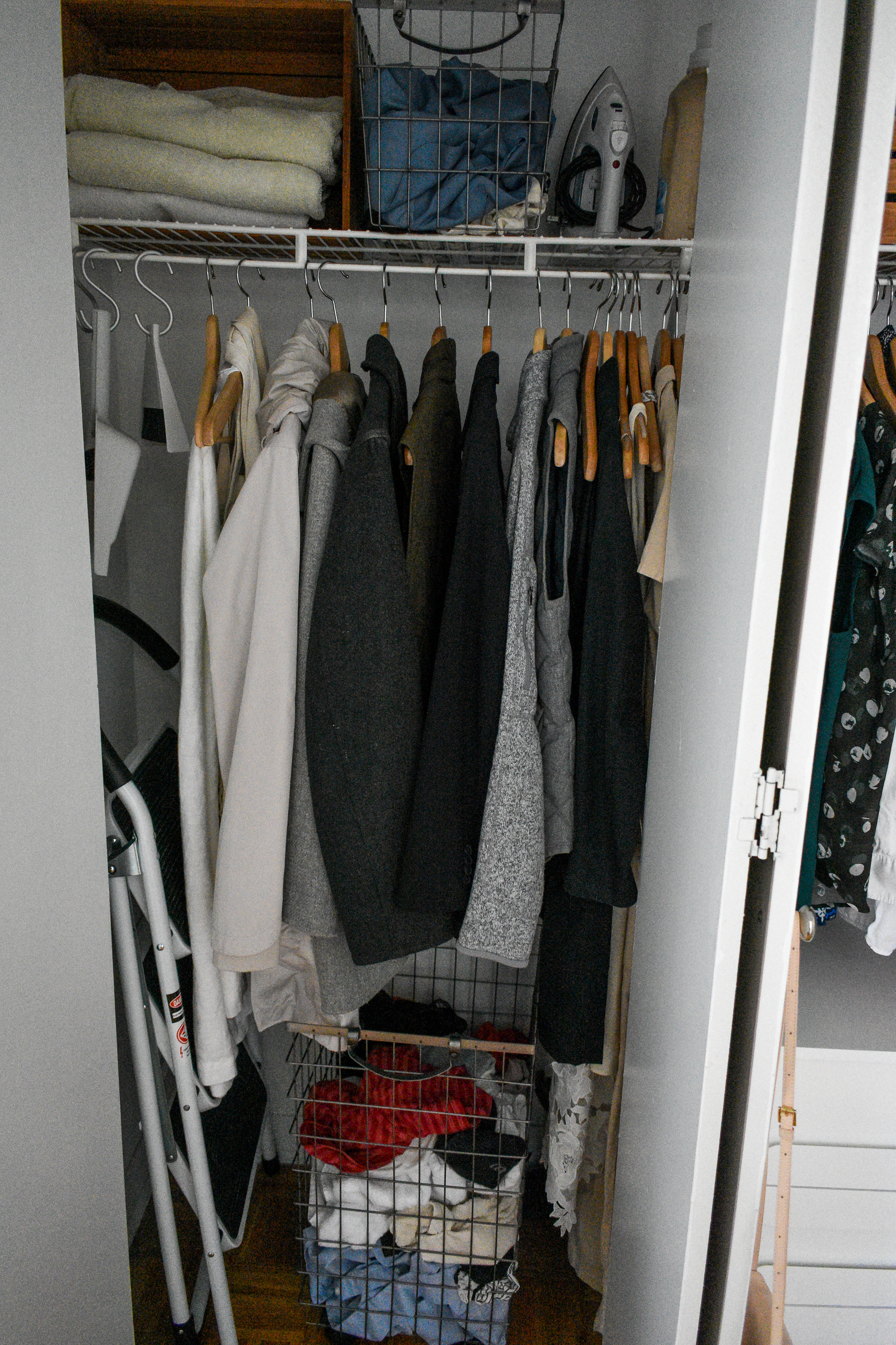 Coat, linens, and laundry