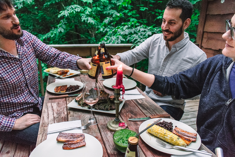 Chimichurri Steak with Cilantro-Lime Corn and Glazed Plantains -