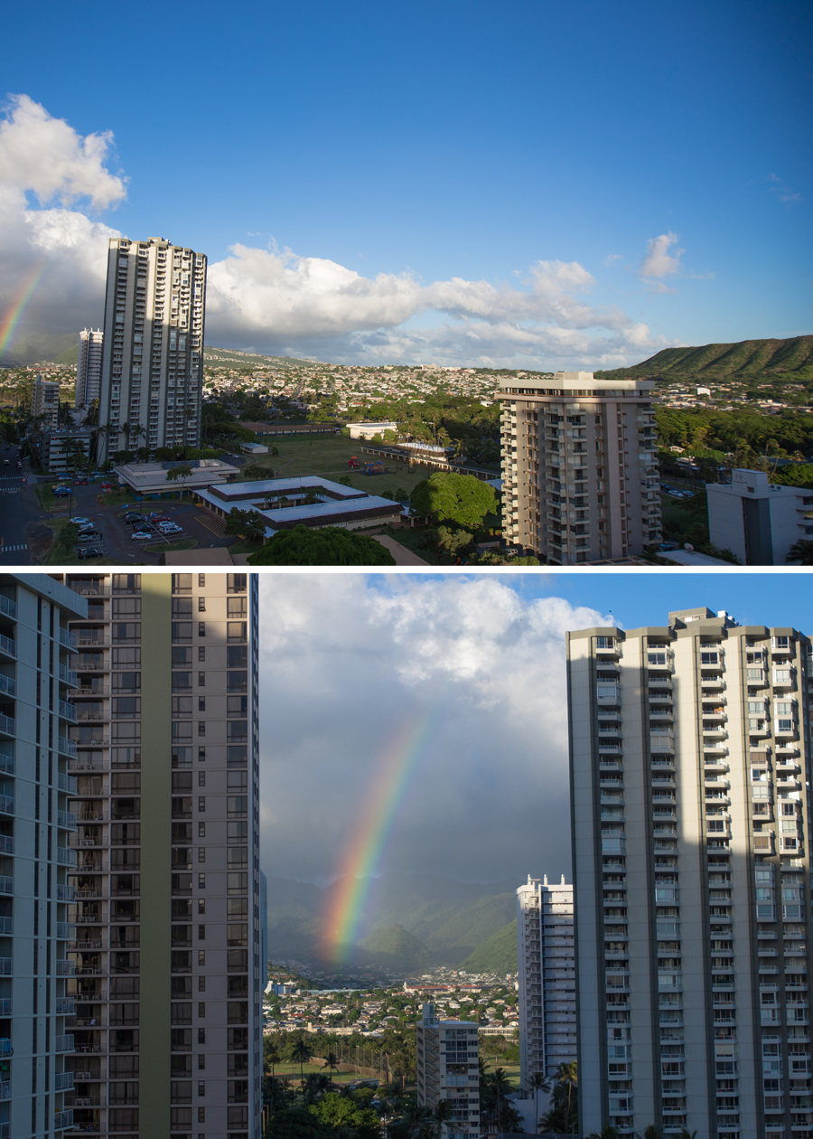 A rainbow greeted us when we stepped onto the balcony of our hotel in Waikiki!