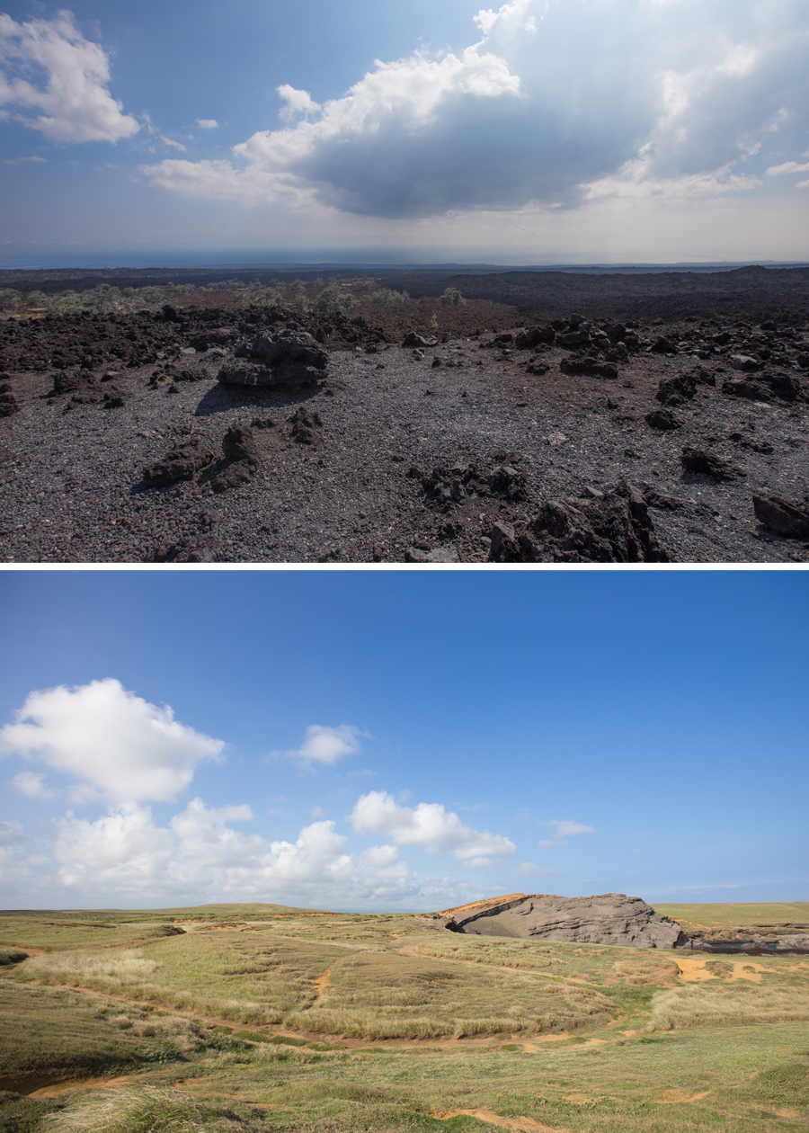 Lava field along Mamalahoa Highway (above) and the dirt roads just before the Green Sand Beach at South Point (below), Big Island.