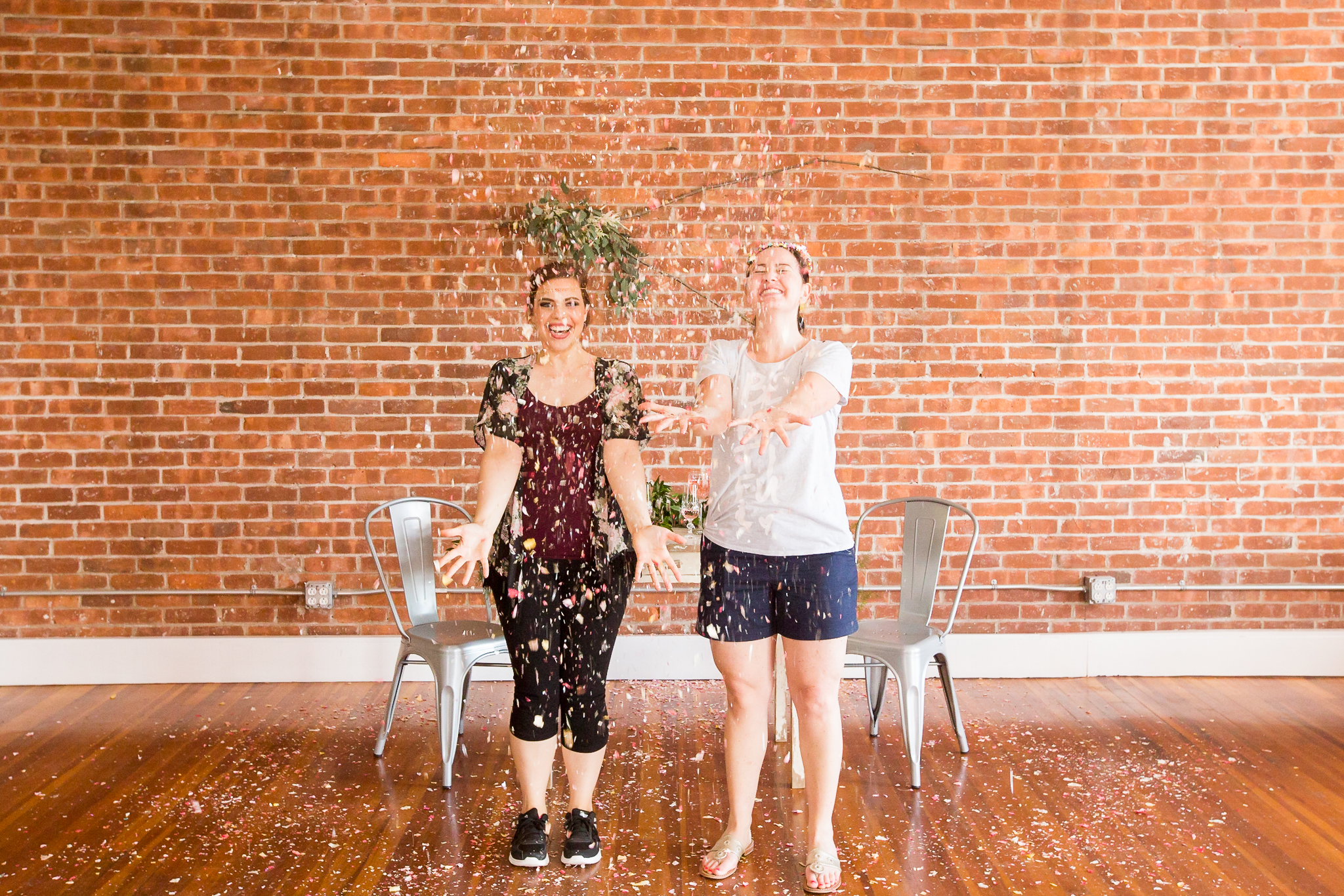 You can see why we had so much fun at the styled shoot! Confetti throwing all day? Yes please!  Jess of The Confetti Bar on the left, and Barbara of AvantGarde Design on the right.