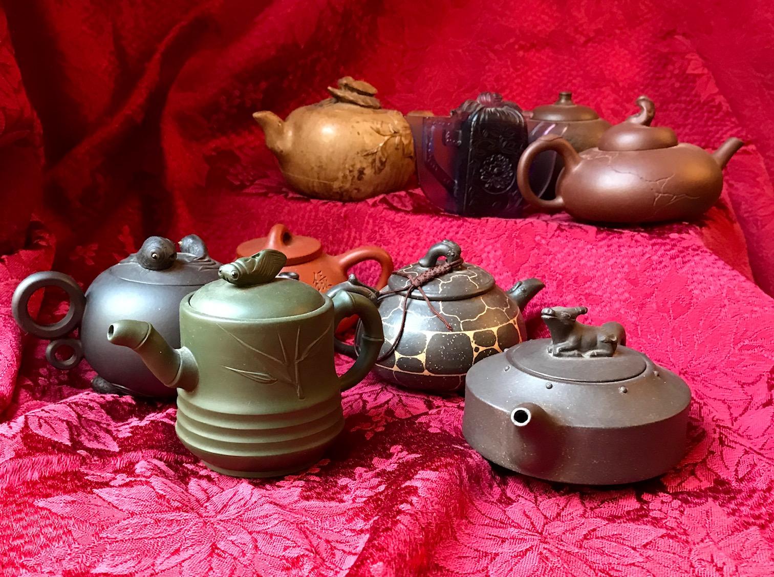 Author Patricia Toht's teapots.