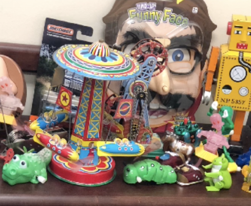 Author Chana Stiefel's wind-up toys.