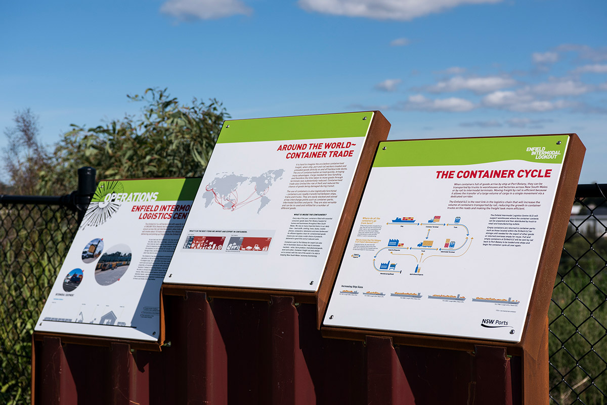 NSW Ports, Enfield: We reused a shipping container profile for the base of the sign
