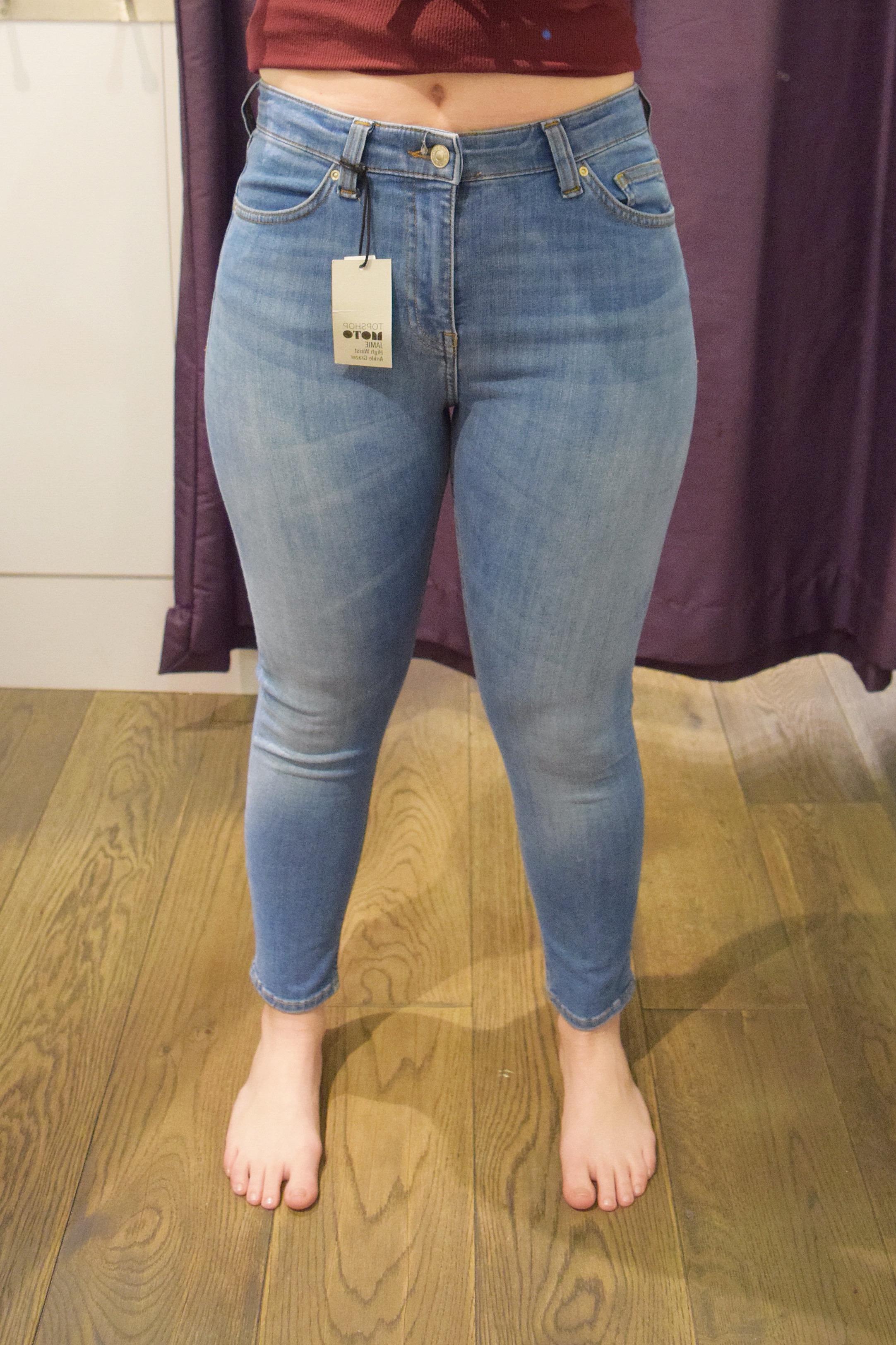 Topshop Petite Jamie High Waist Ankle Grazer - Size 6 Petite - Front View