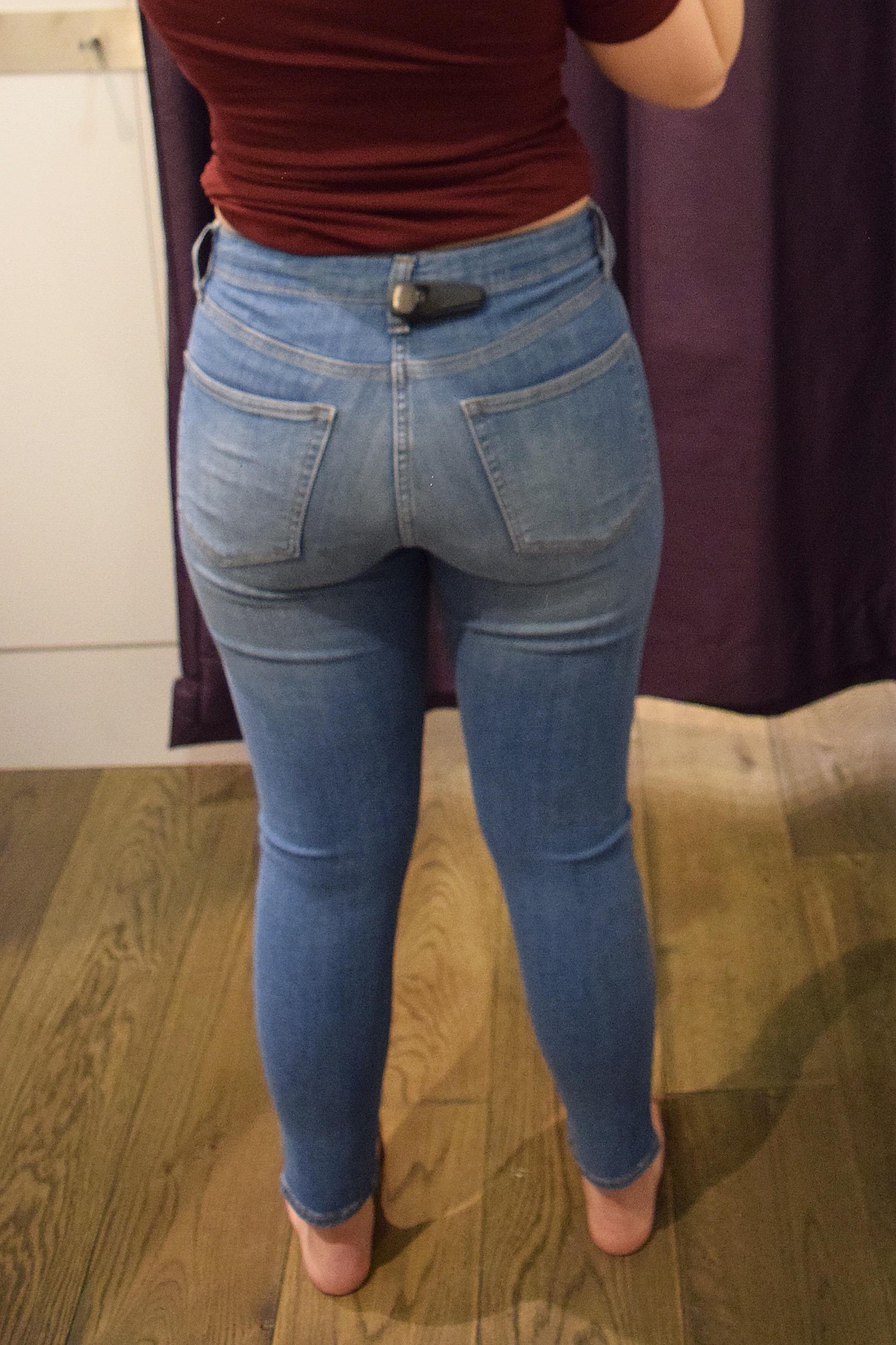 Topshop Petite Jamie High Waist Ankle Grazer - Size 6 Petite - Back View