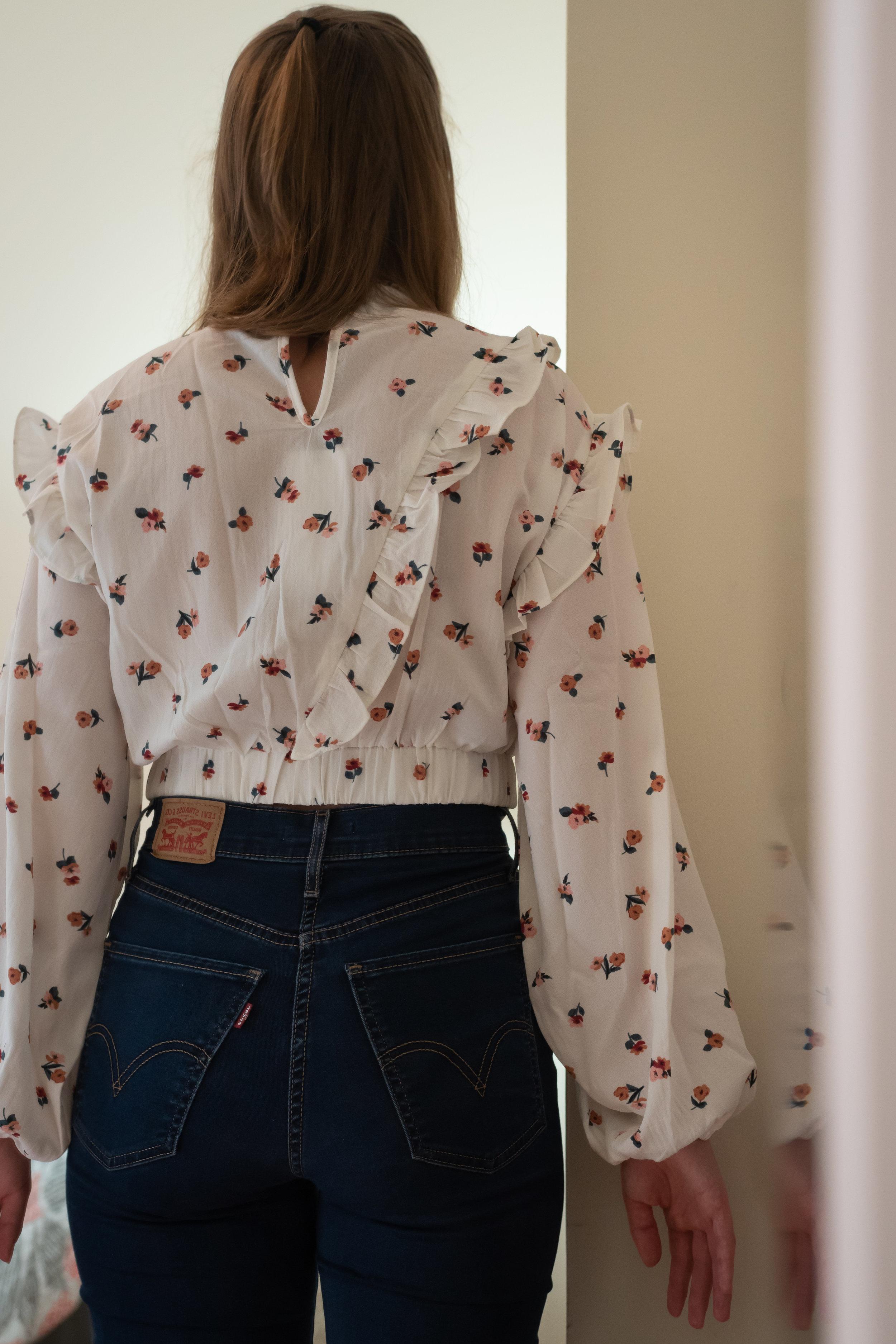 Fashion Union Petite High Neck Long Sleeve Blouse - Size 6 Petite - BACK