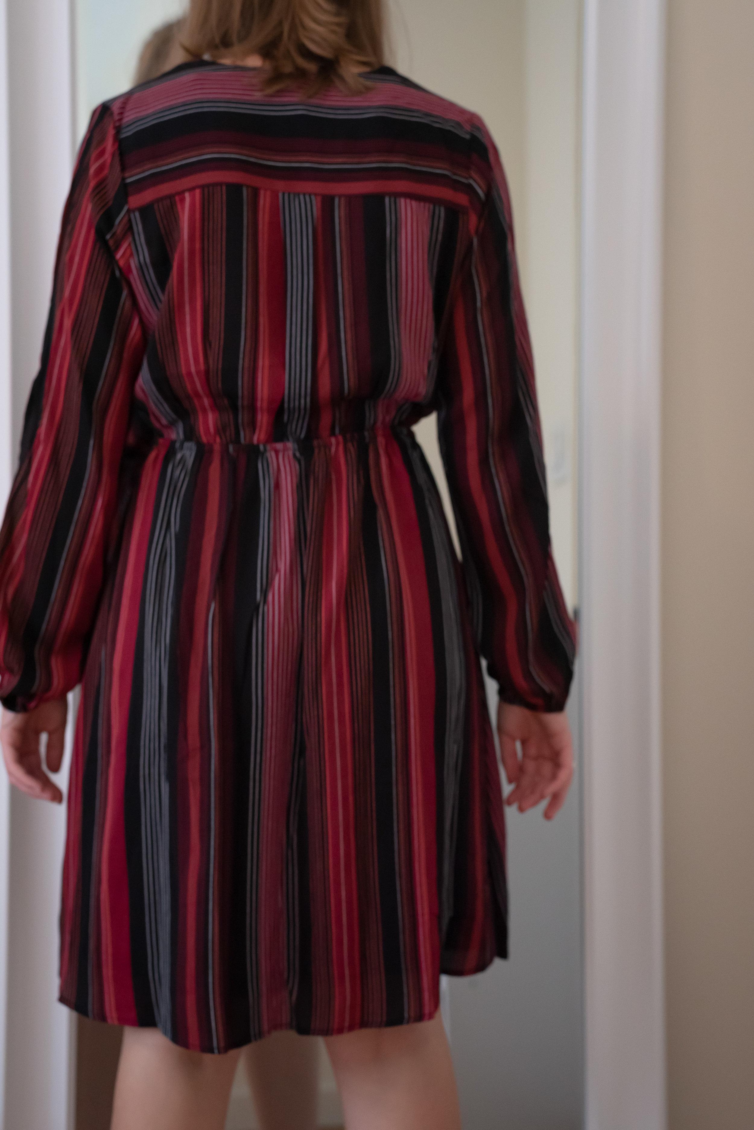 Monteau Petite Striped Split-Sleeve Faux-Wrap Dress - Size Petite S - BACK