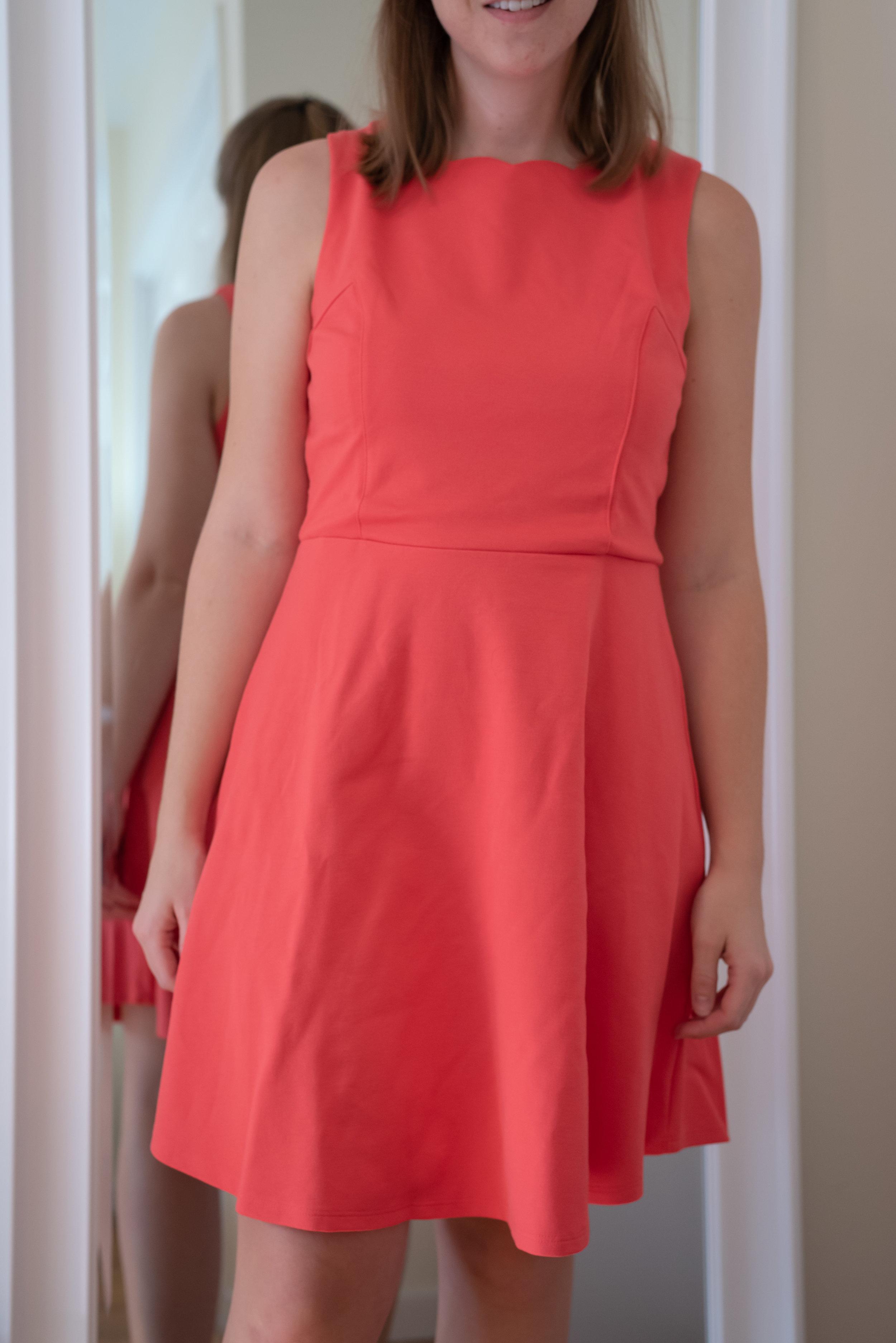 Monteau Petite Scalloped Fit & Flare Dress - Size Petite M - FRONT