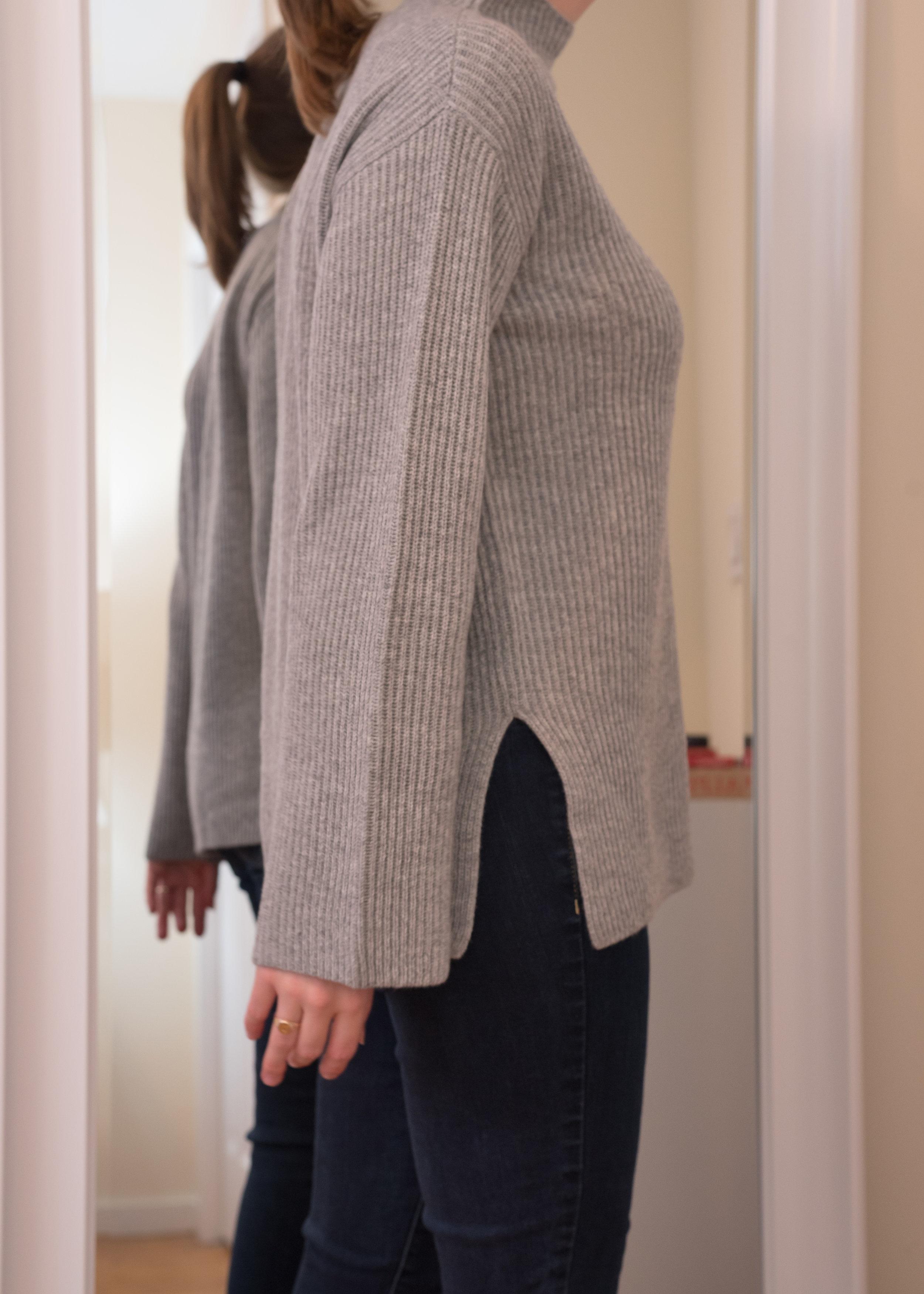 Everlane Cashmere Rib Mockneck Sweater - Size S - Side View