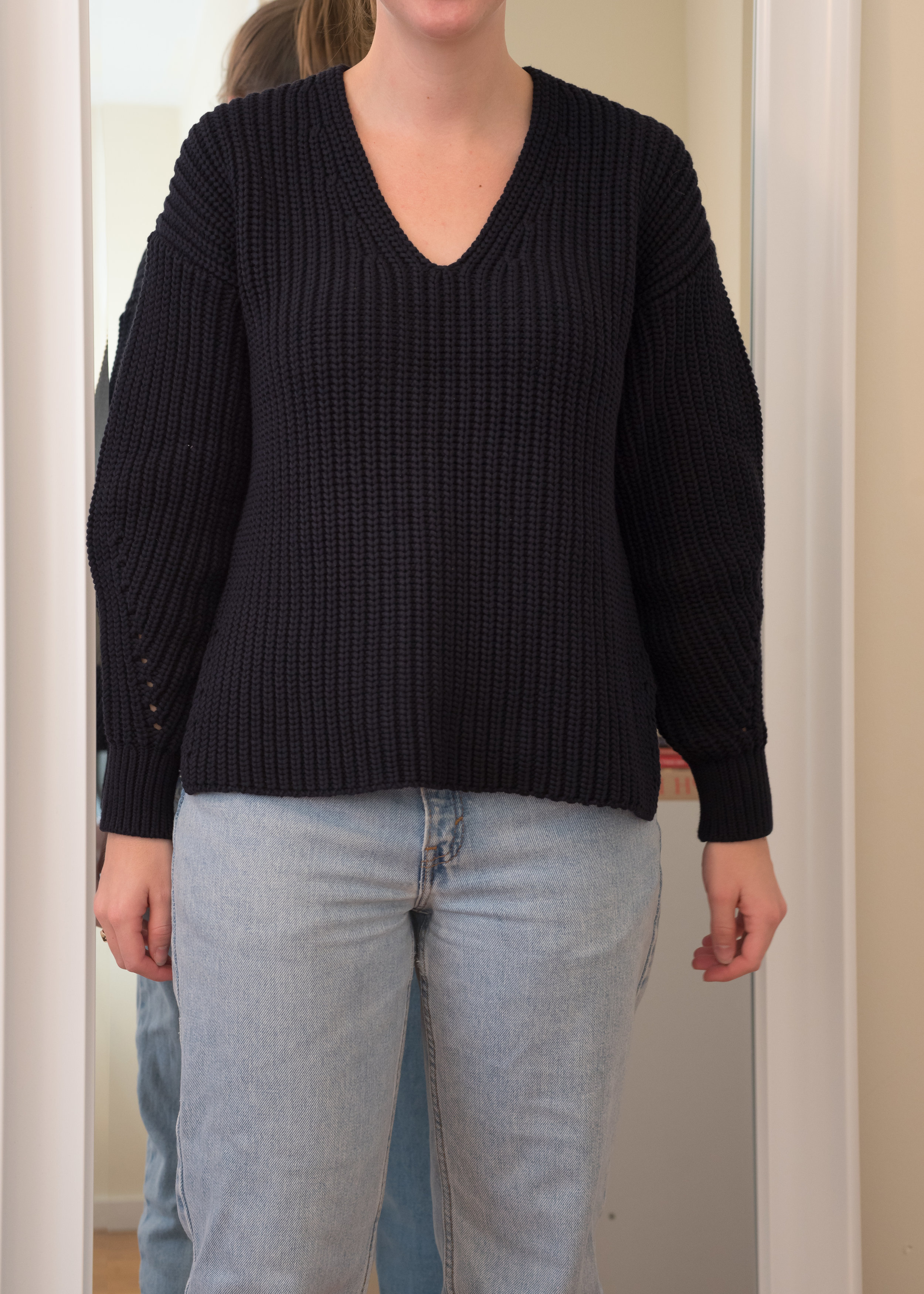 Everlane Texture Cotton V-Neck Sweater - Front View