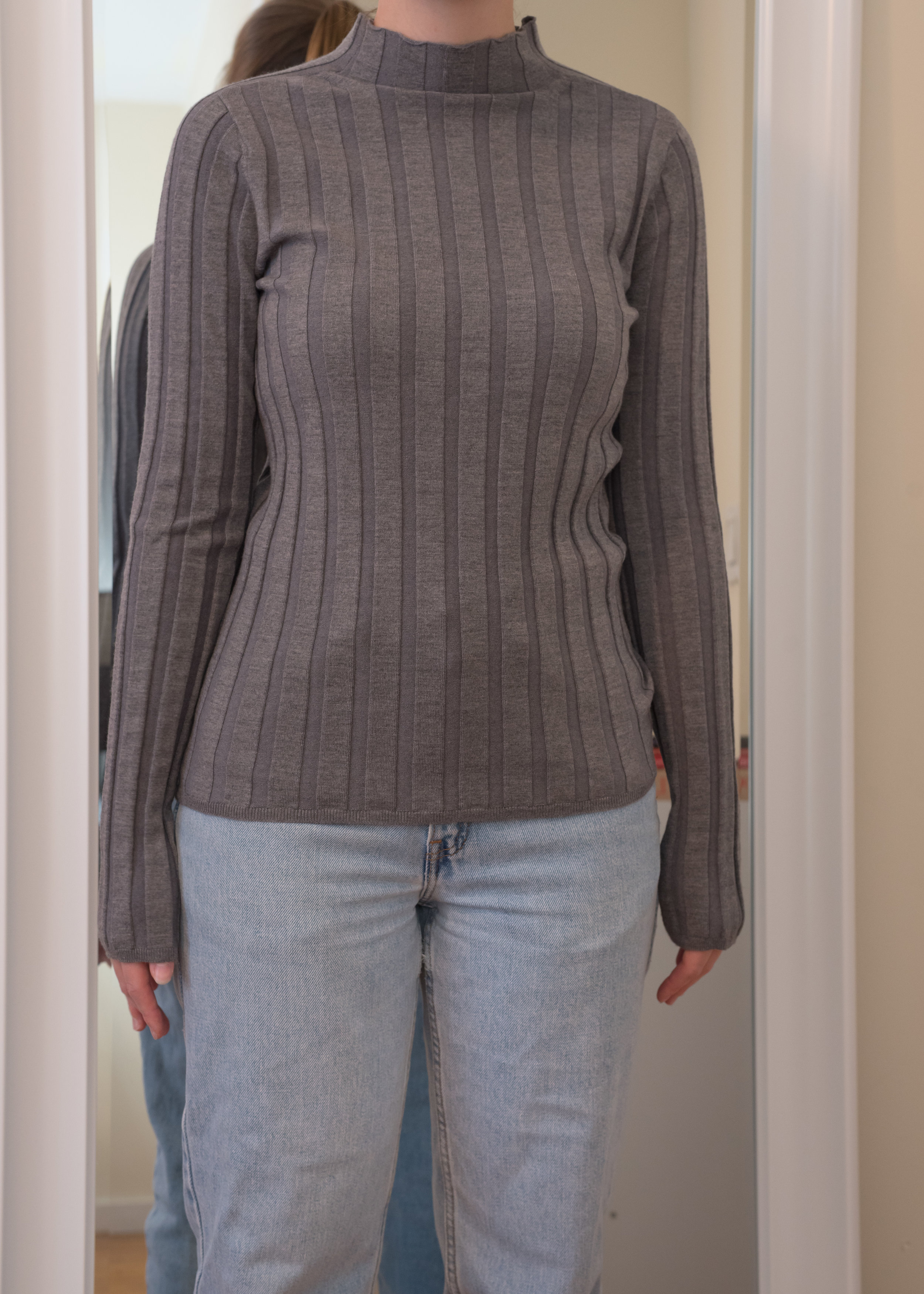 Everlane Luxe Wool Rib Mockneck Sweater - Front View