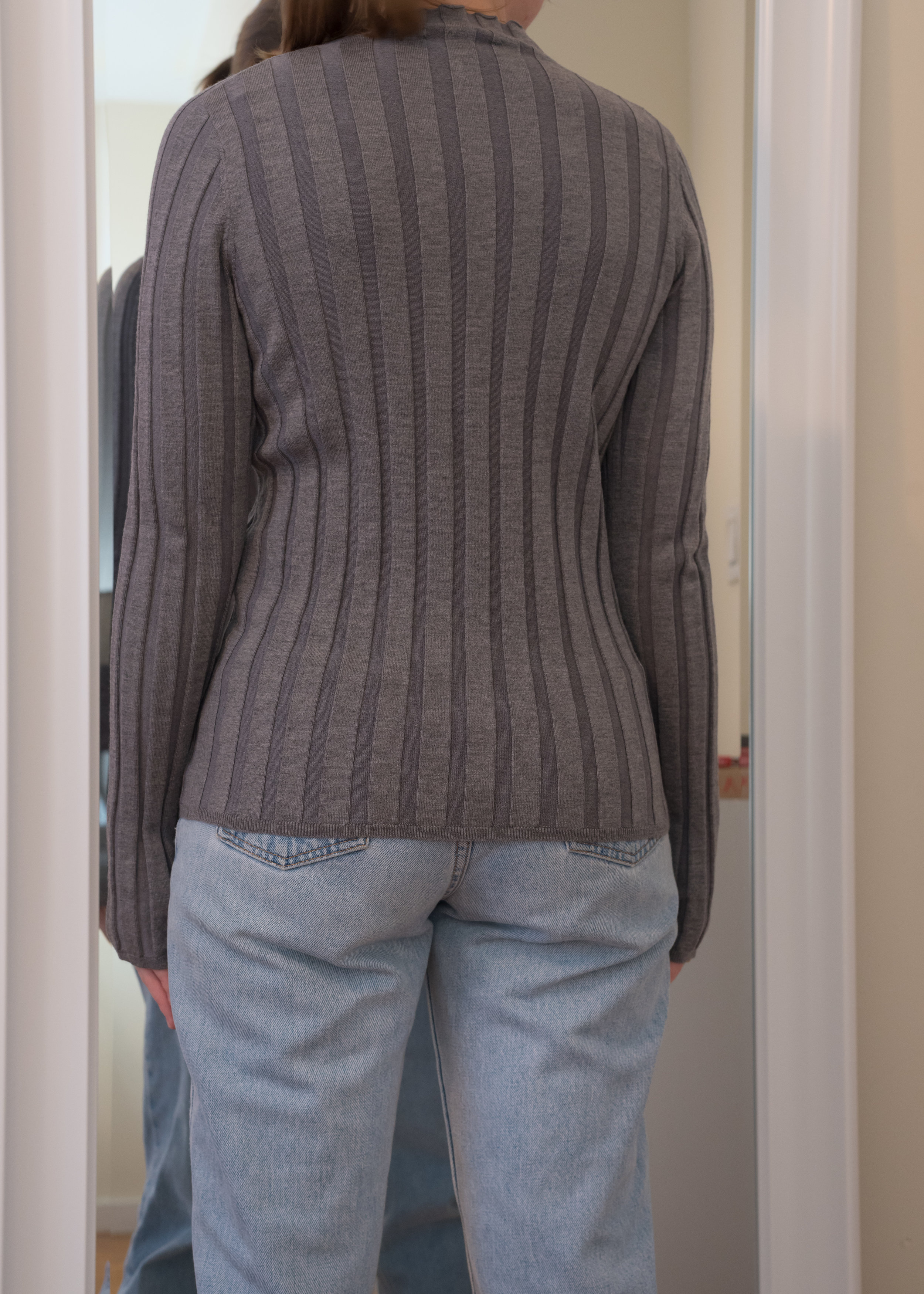 Everlane Luxe Wool Rib Mockneck Sweater - Back View