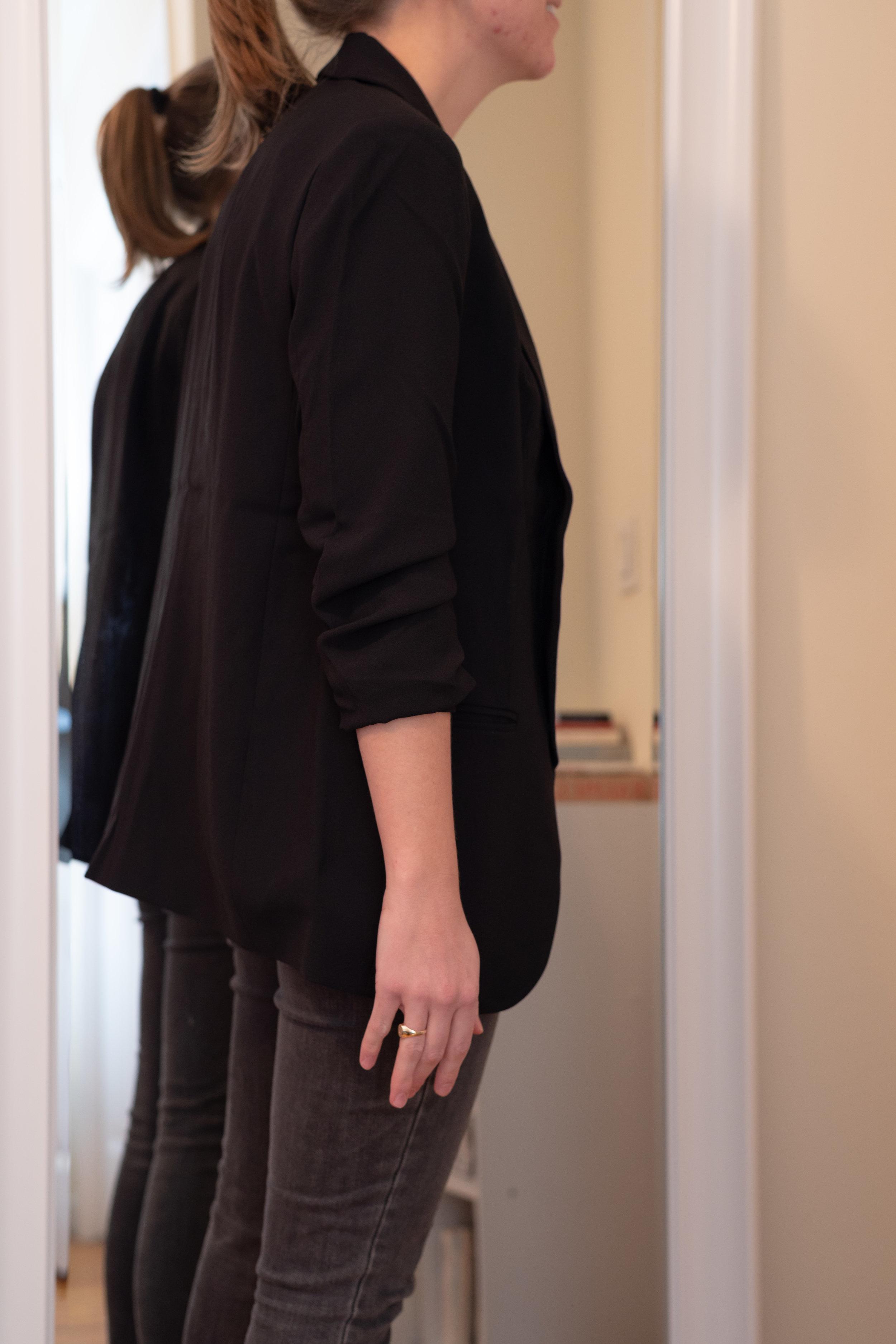 Express Ruched Sleeve Boyfriend Blazer - Size S