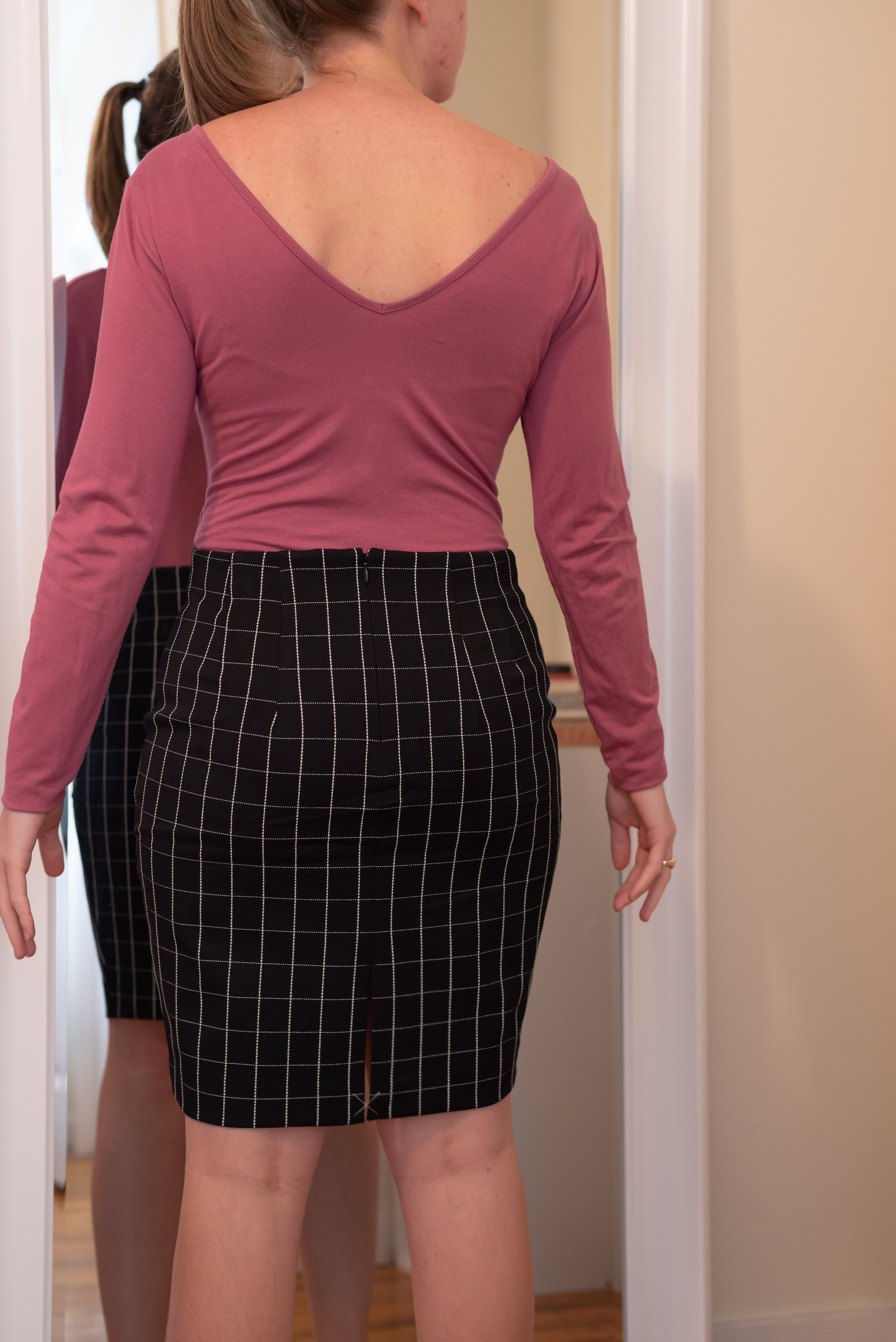 Express Petite High Waisted Windowpane Pencil Skirt - Size S