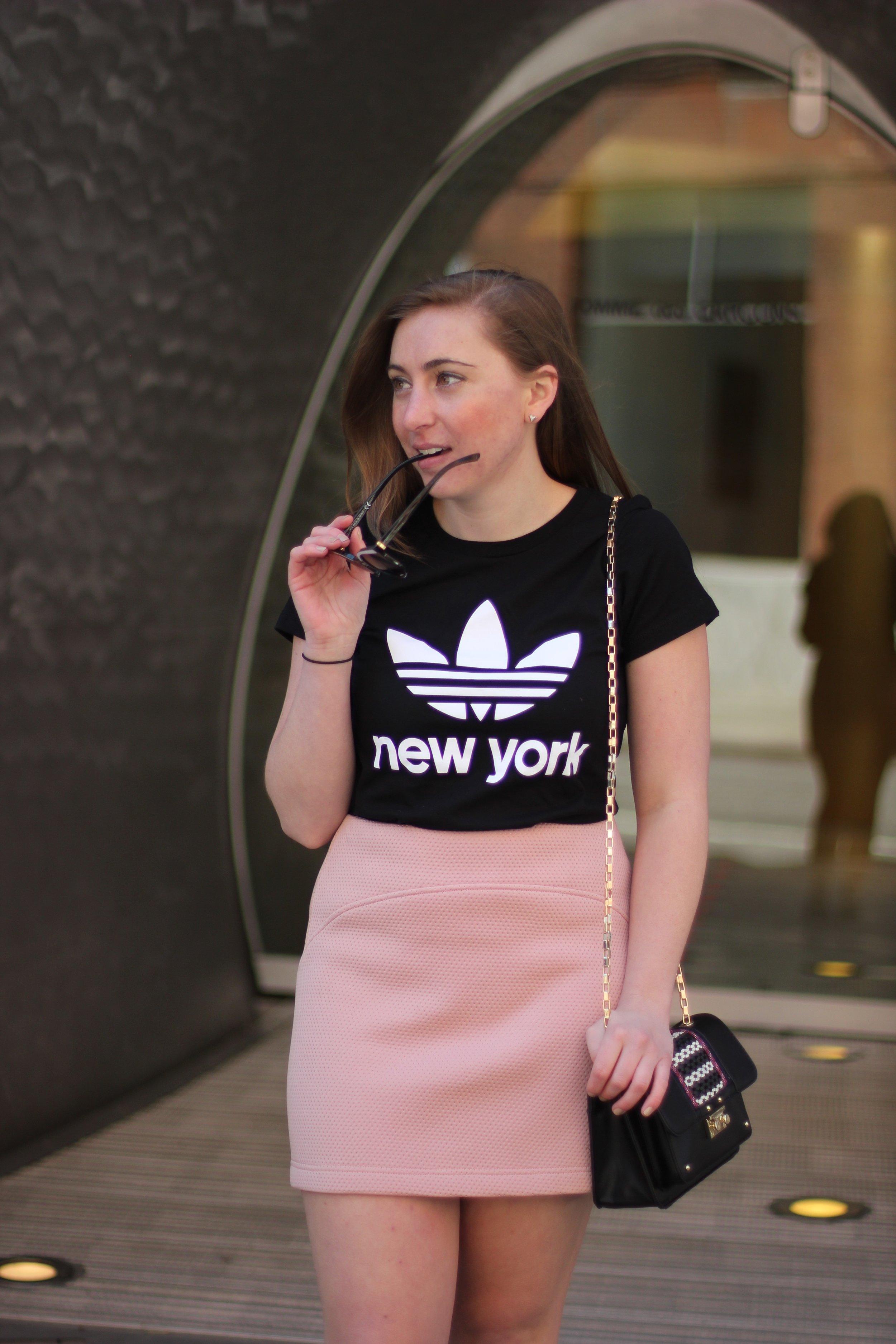 Topshop Mini Skirt & Adidas Tee