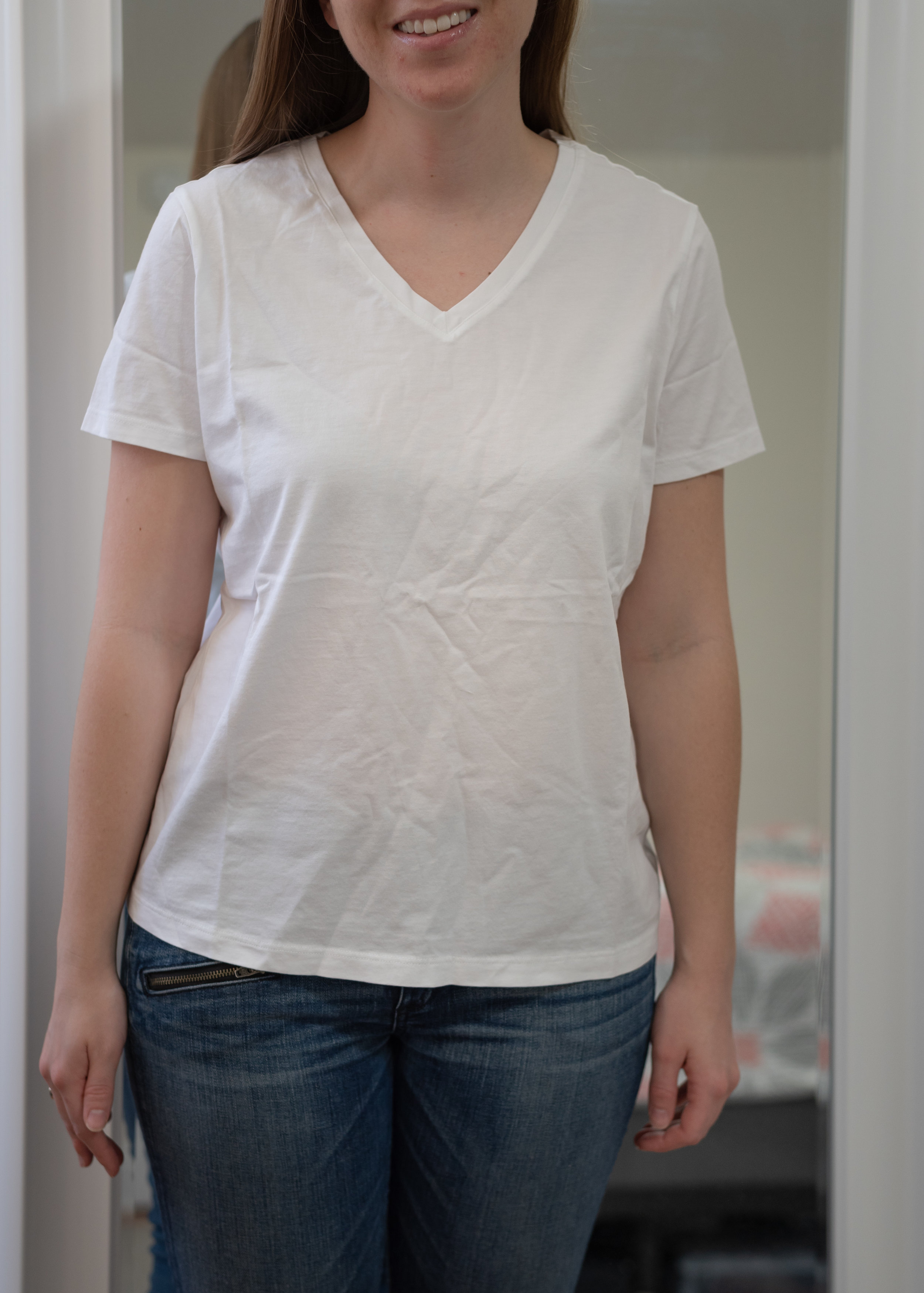Lands' End Petite Supima Cotton Relaxed V-Neck T-Shirt - Size Petite Small