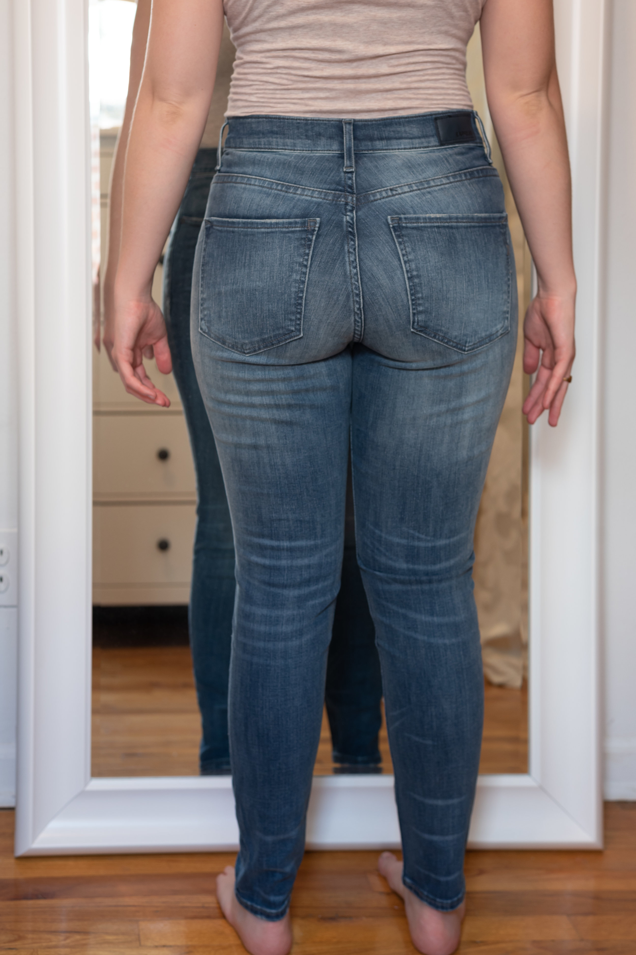Express High Waisted Denim Perfect Curves Jean Legging- 6 Short