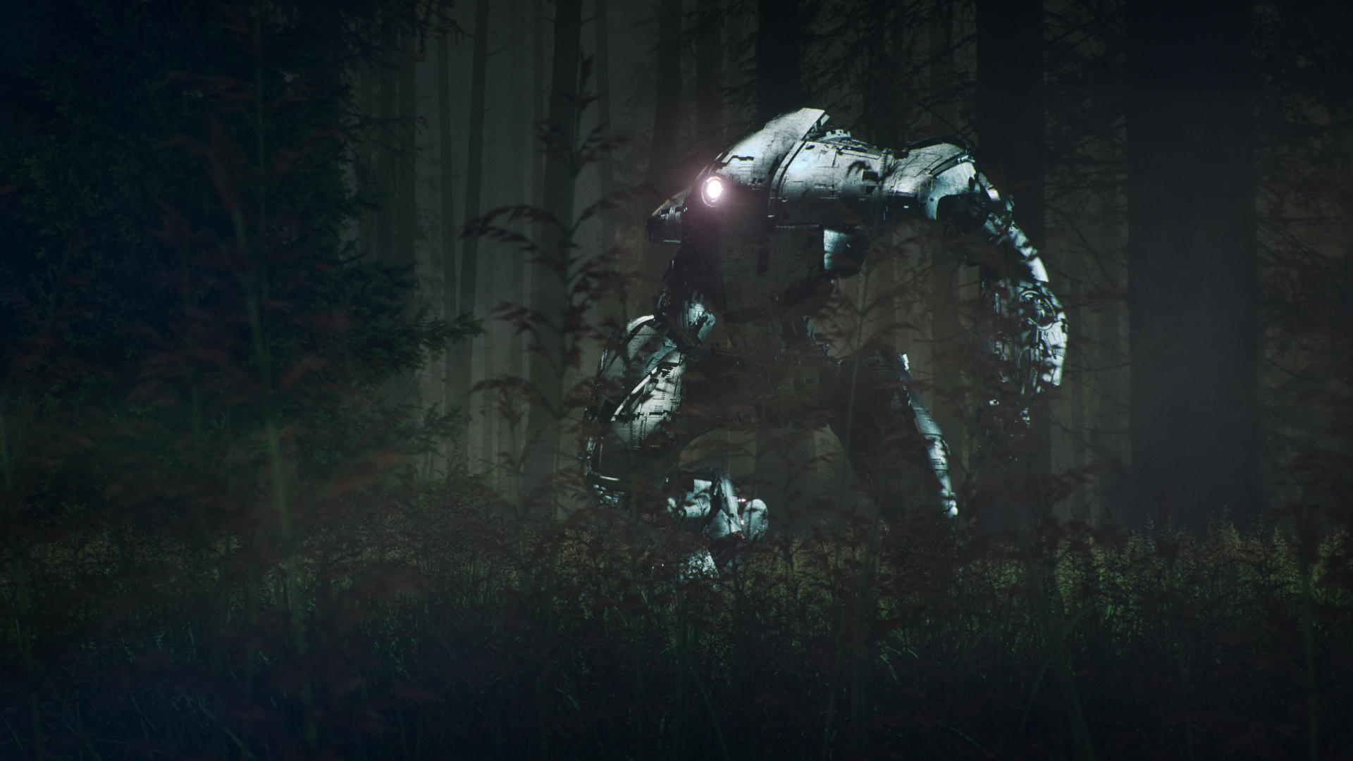 07.20 Octane Render. Into the Woods we go... Mech M-6k provided by Comrade1280 via Sketchfab (though I mucked up the textures). Trying Octane Scatter for the grass - works a treat.