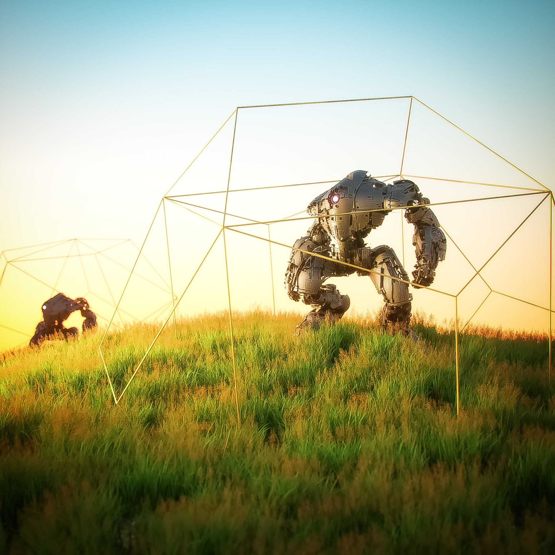 09.13 Octane Render No. 02. Mech M-6k provided by Comrade1280 via Sketchfab. I altered the textures a lot to get plate details. Working with Octane scatter for the grass.