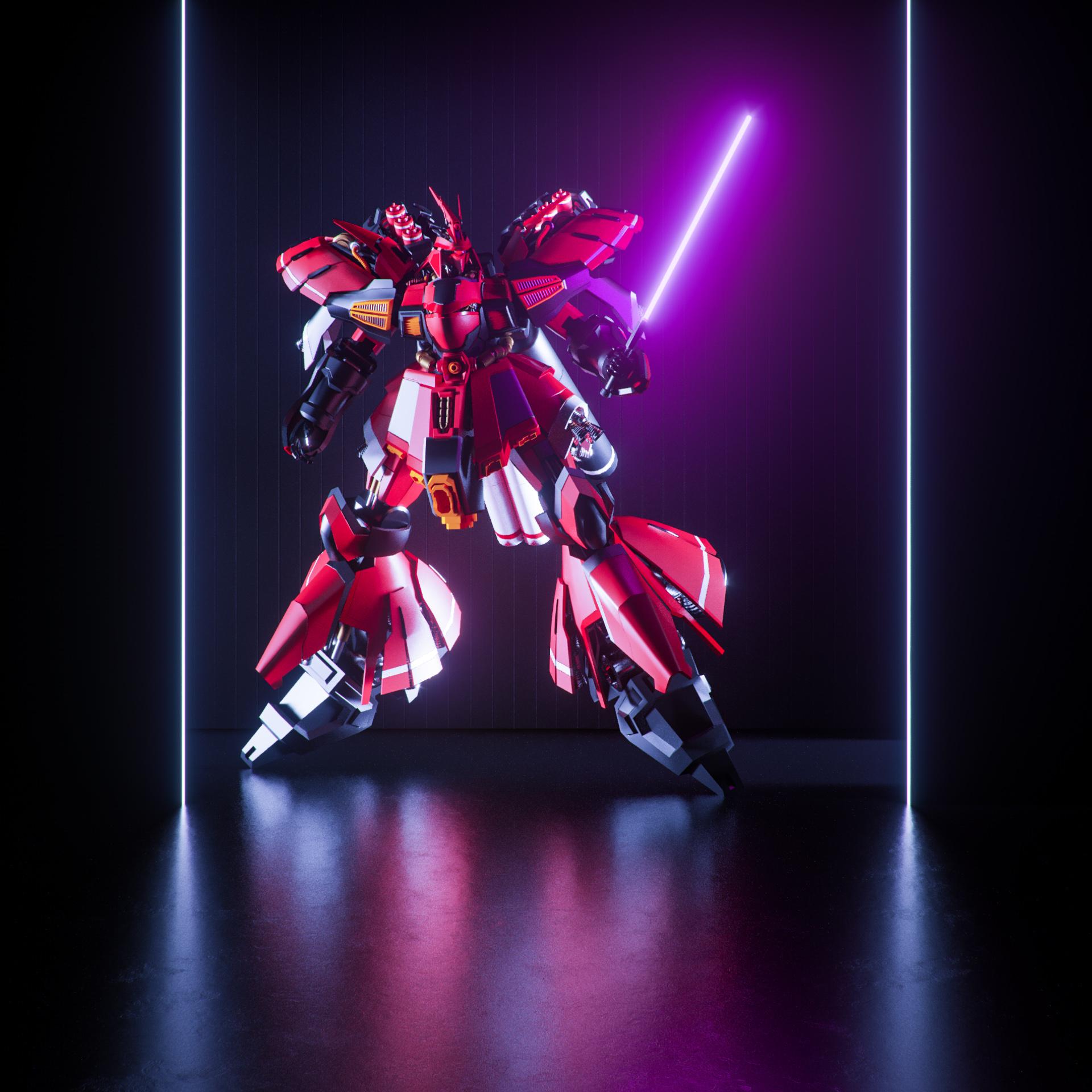 Gundam model by Kanatee via Sketchfab.