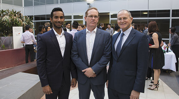 L-R: Timothy Andrew (SMIF President 2015), Marshall Allen (Managing Director at Viburnum Funds), Professor Phillip Dolan (Dean of the UWA Business School)