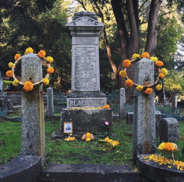 Photo of Judge William Blackburn's grave at Evergreen Cemetery