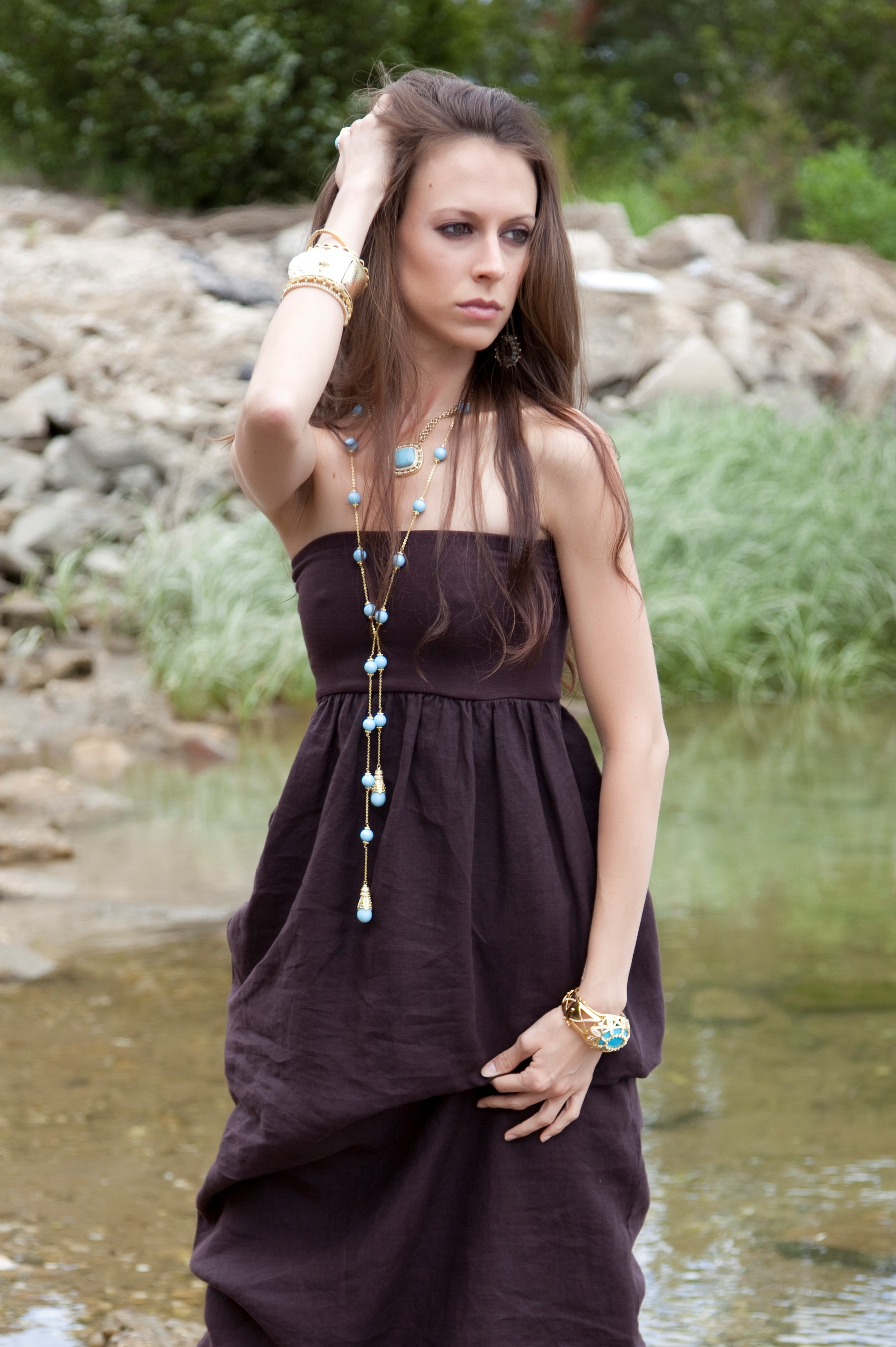 From the Doris Panos Fashion Collection featuring turquoise colored Fantasy Lariat & Honey Drop Necklace.