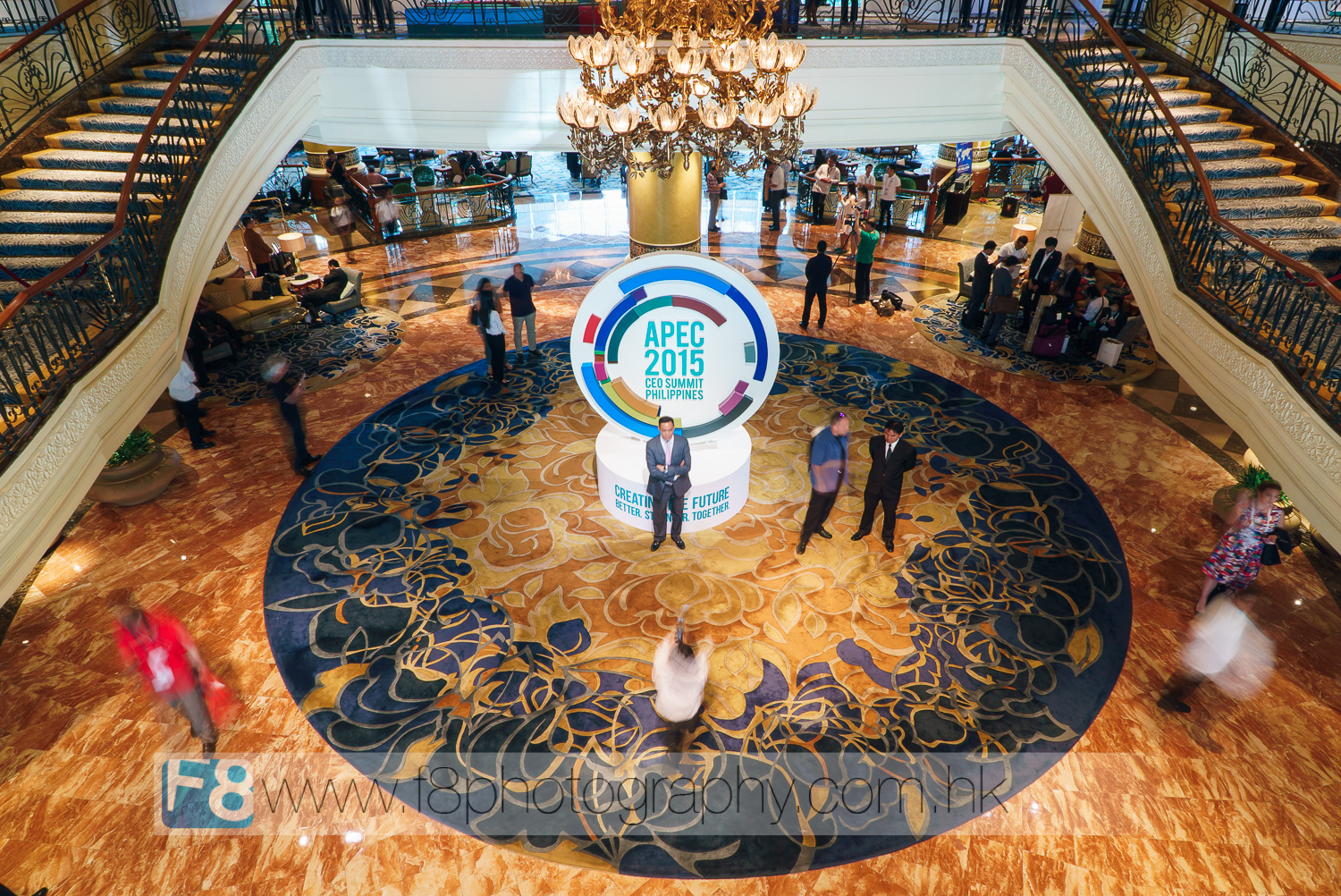 The lobby of the Shangri-La remained public access throughout the event, which became a 'selfie hotspot' for tourists and guests alike around the APEC logo.  Other parts of the hotel had extremely tight security for obvious reasons.