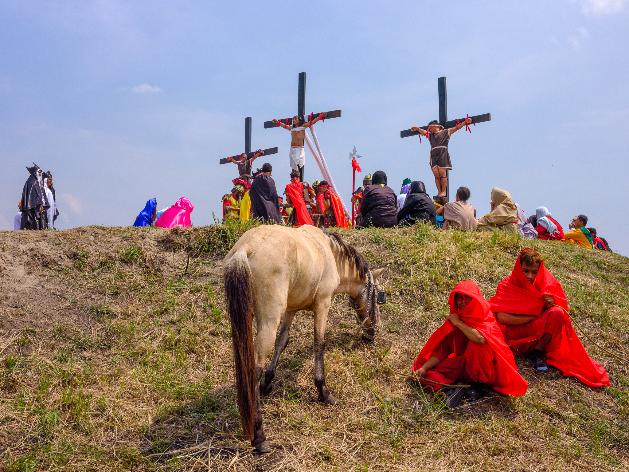 A wider view of the hilltop scene, the horsemen had arrived to start the spectacle before the crucifixions. Fuji GFX, 45mm.